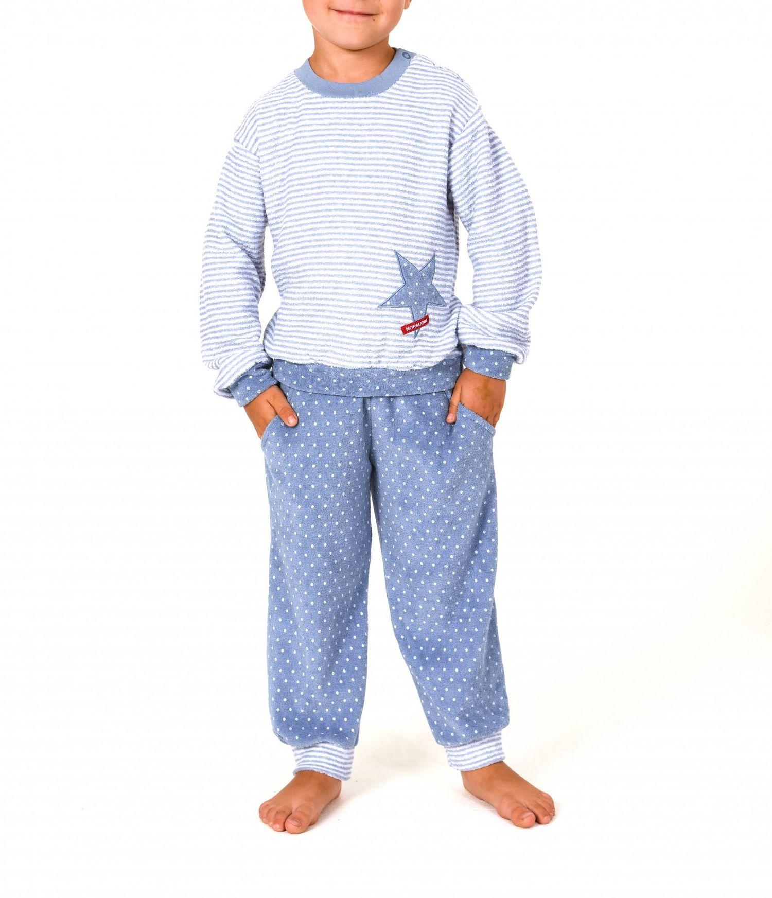 Mädchen Frottee Pyjama lang mit Bündchen - Tupfen und Streifenoptik - 57398 – Bild 2
