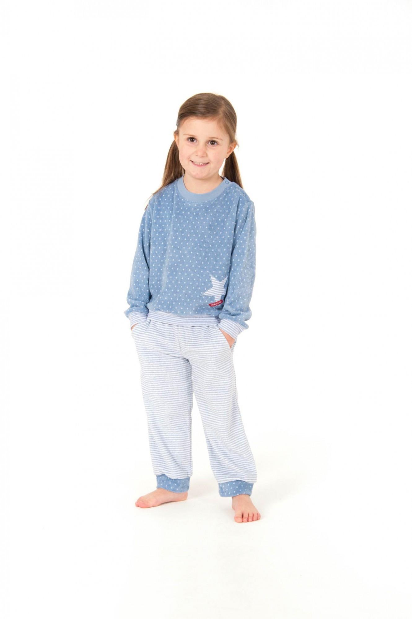Mädchen Frottee Pyjama lang mit Bündchen - Tupfen und Streifenoptik - 57398 – Bild 1
