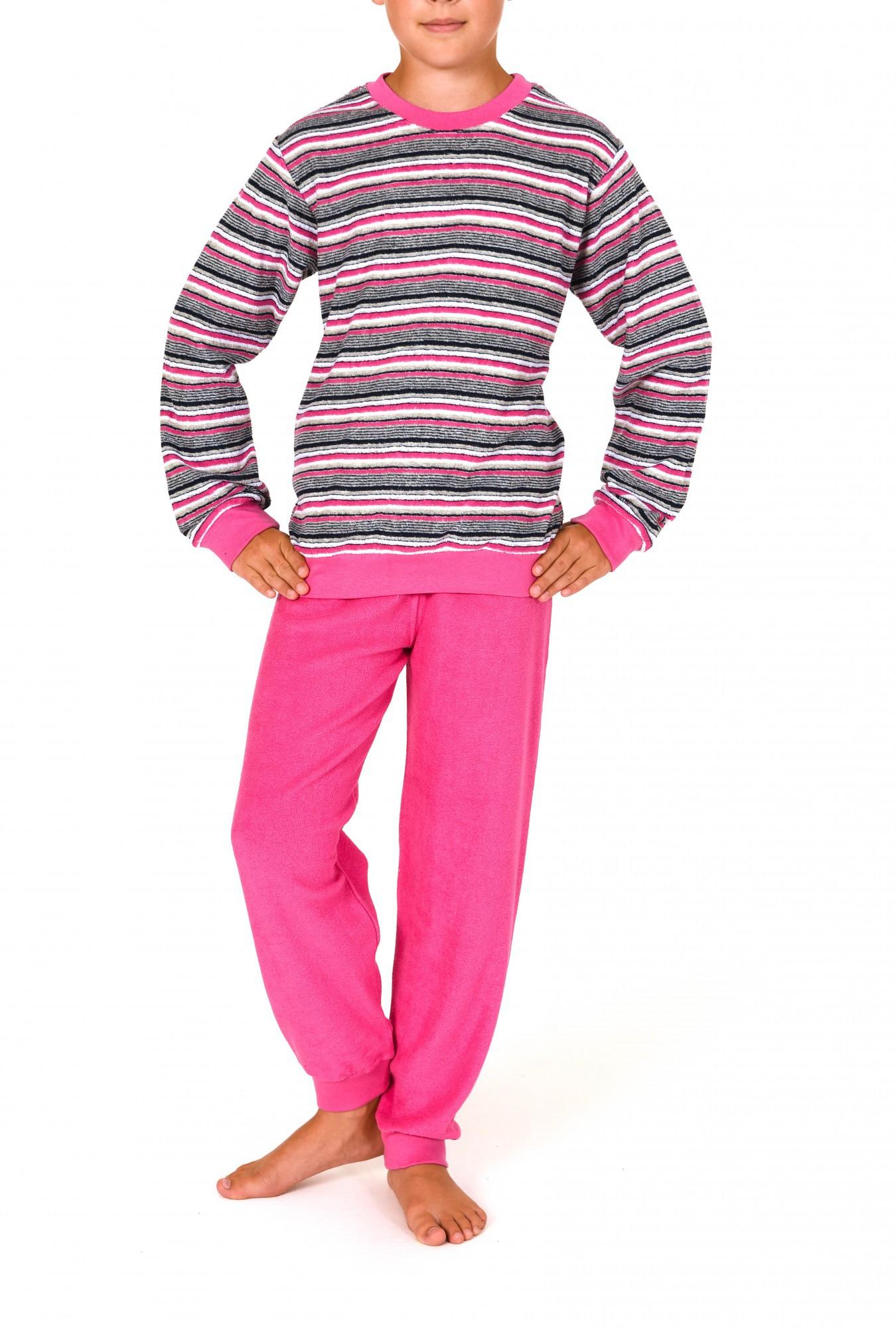Mädchen Frottee Pyjama lang mit Bündchen 53369 – Bild 1