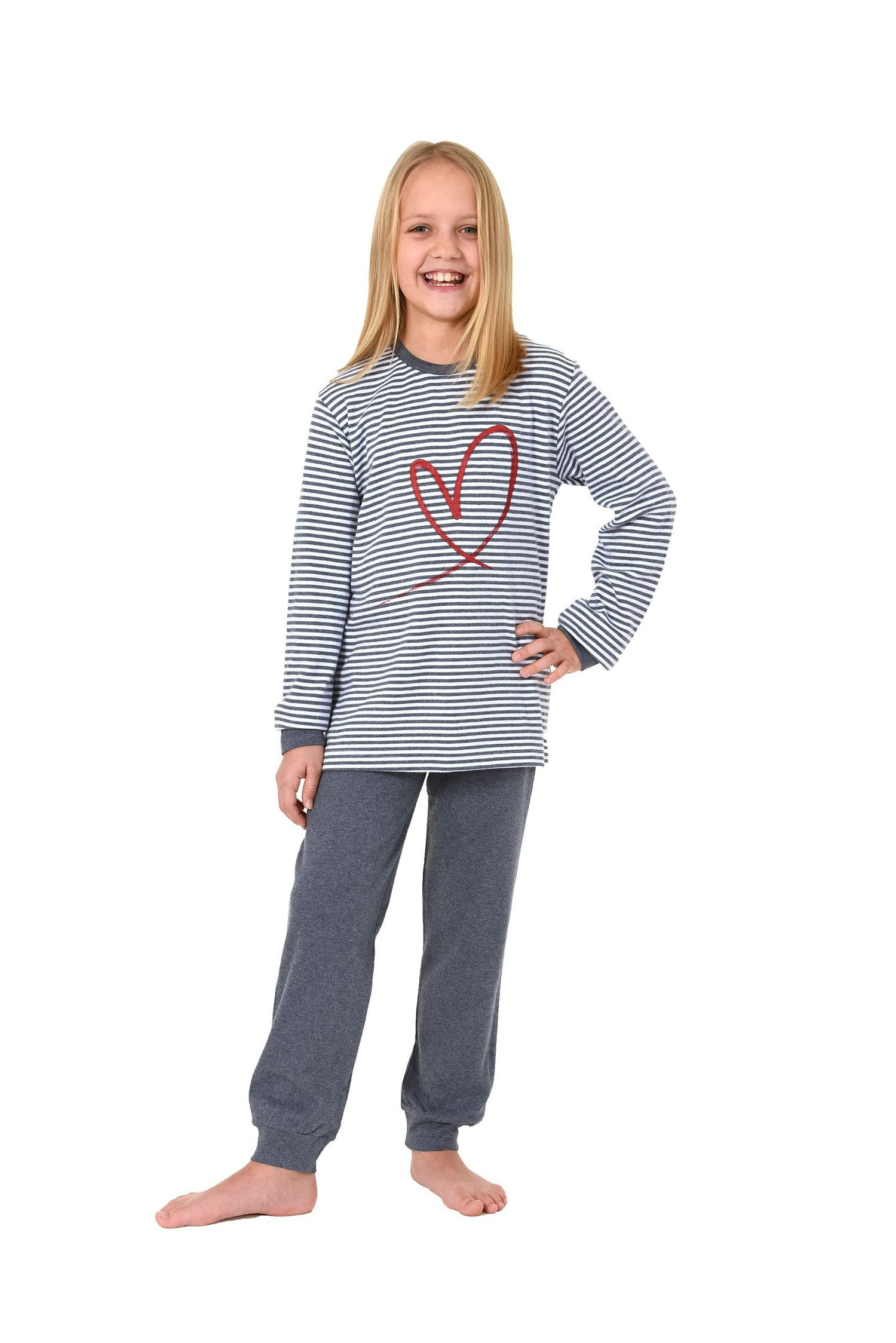 Kinder Mädchen Pyjama langarm mit Bündchen – kuschelig warm und mit Herz Motiv  – Bild 1