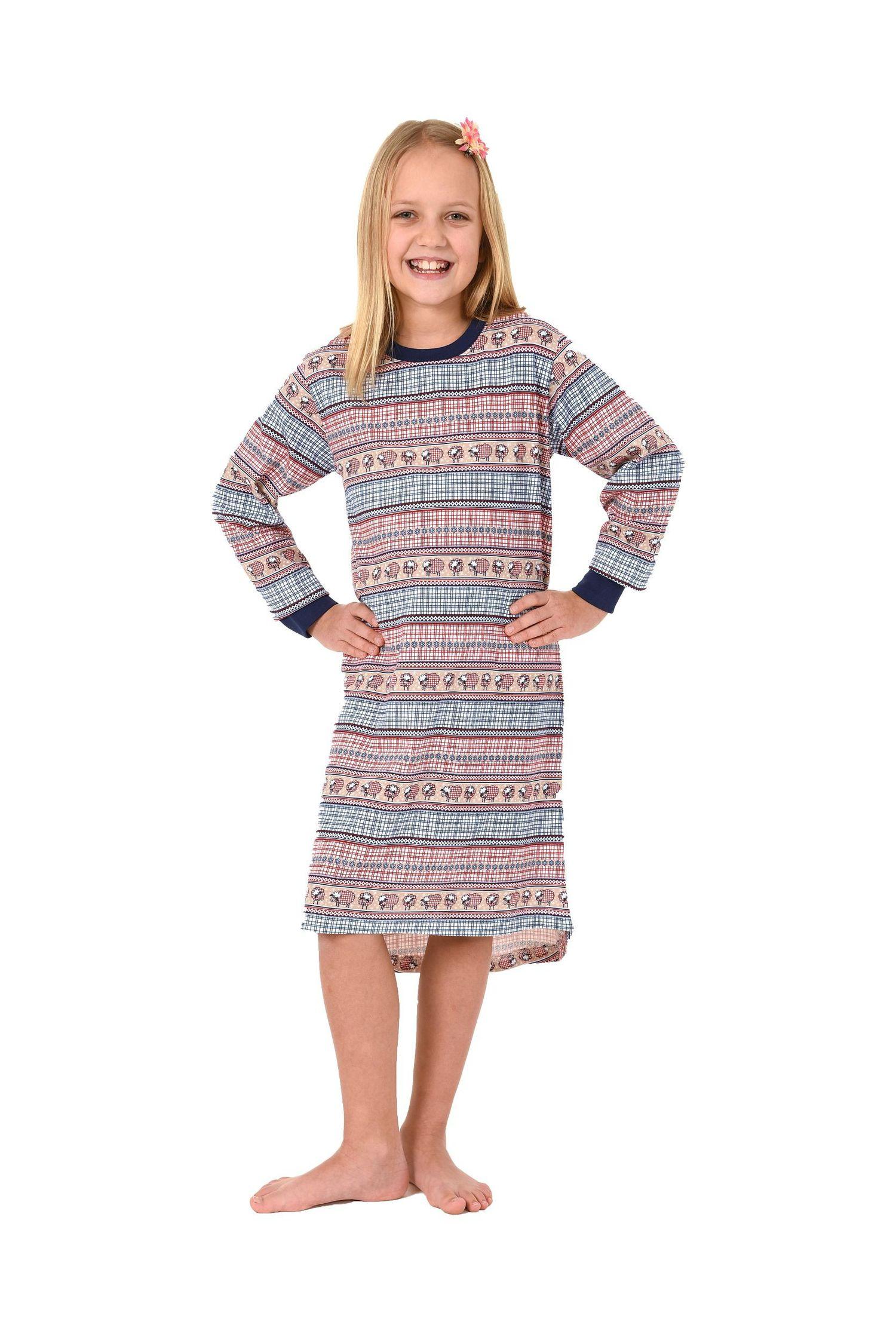 Mädchen Nachthemd langarm mit Bündchen – coole Optik mit Schäfchen und Norwegermotiv – Bild 1