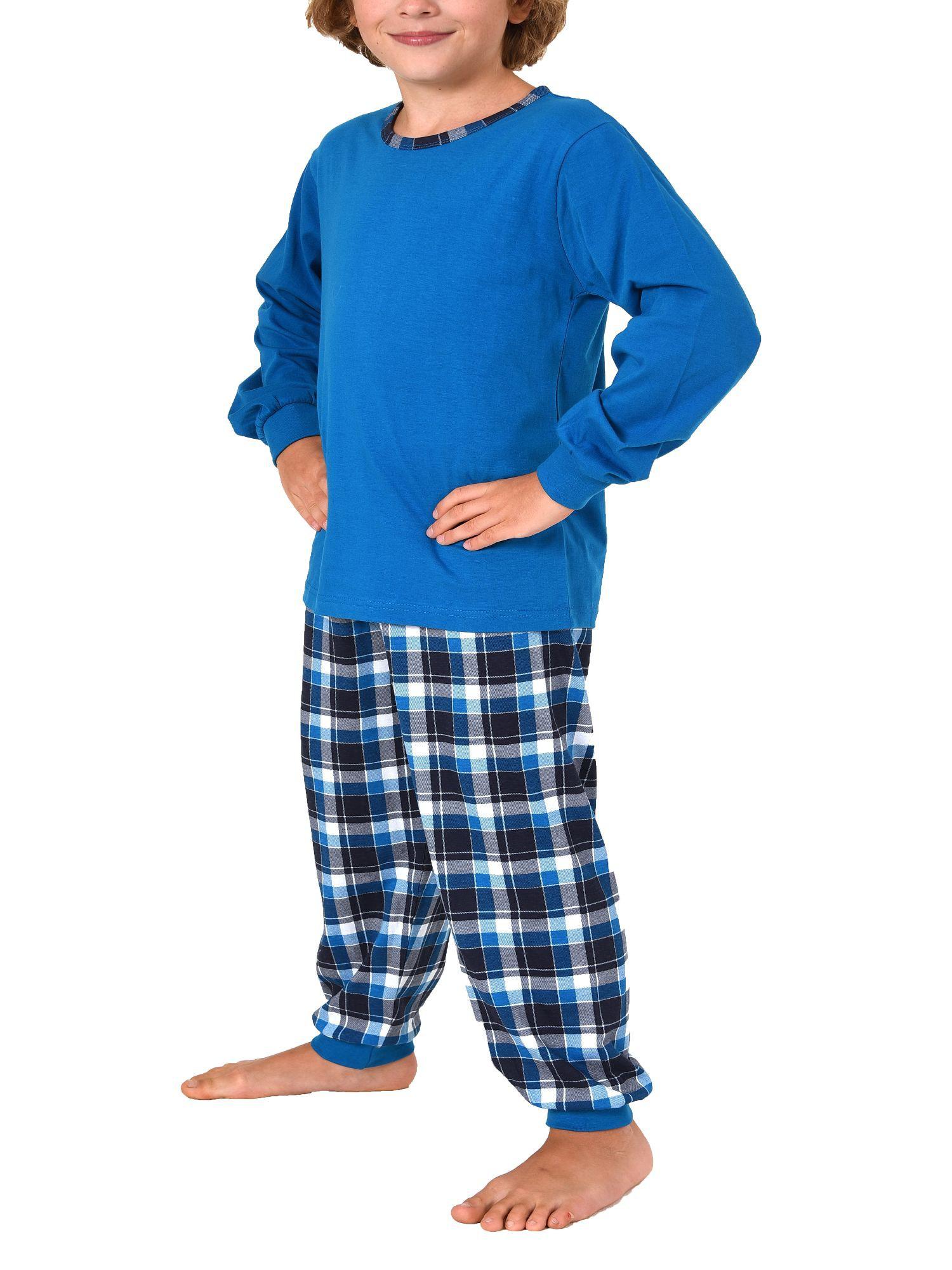 Jungen Pyjama mit karierter Jersey Hose und Bündchen – 271 501 90 415 – Bild 2