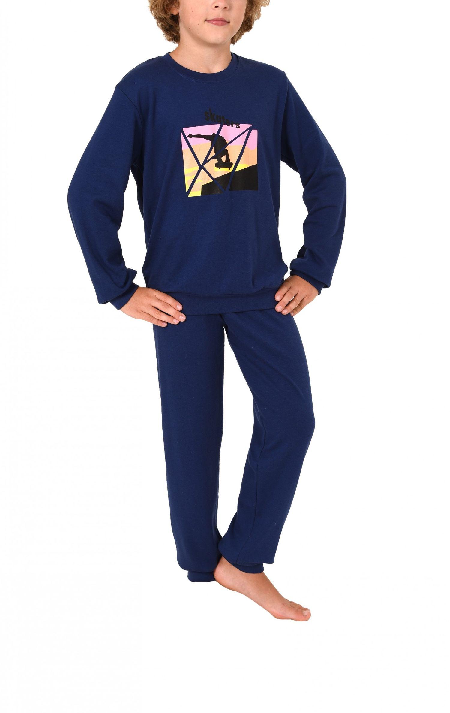 Jungen Pyjama langarm mit Bündchen in warmer Kuschel-Interlock Qualität – Bild 2