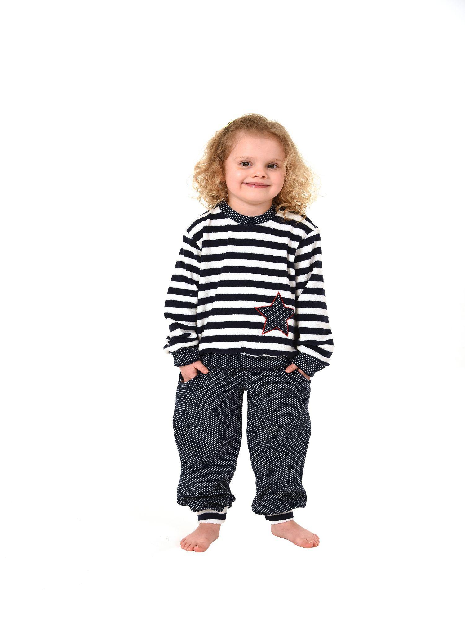 Mädchen Frottee Pyjama langarm mit Bündchen in Tupfen und Streifenoptik - Gr. 86 – 110 – Bild 2
