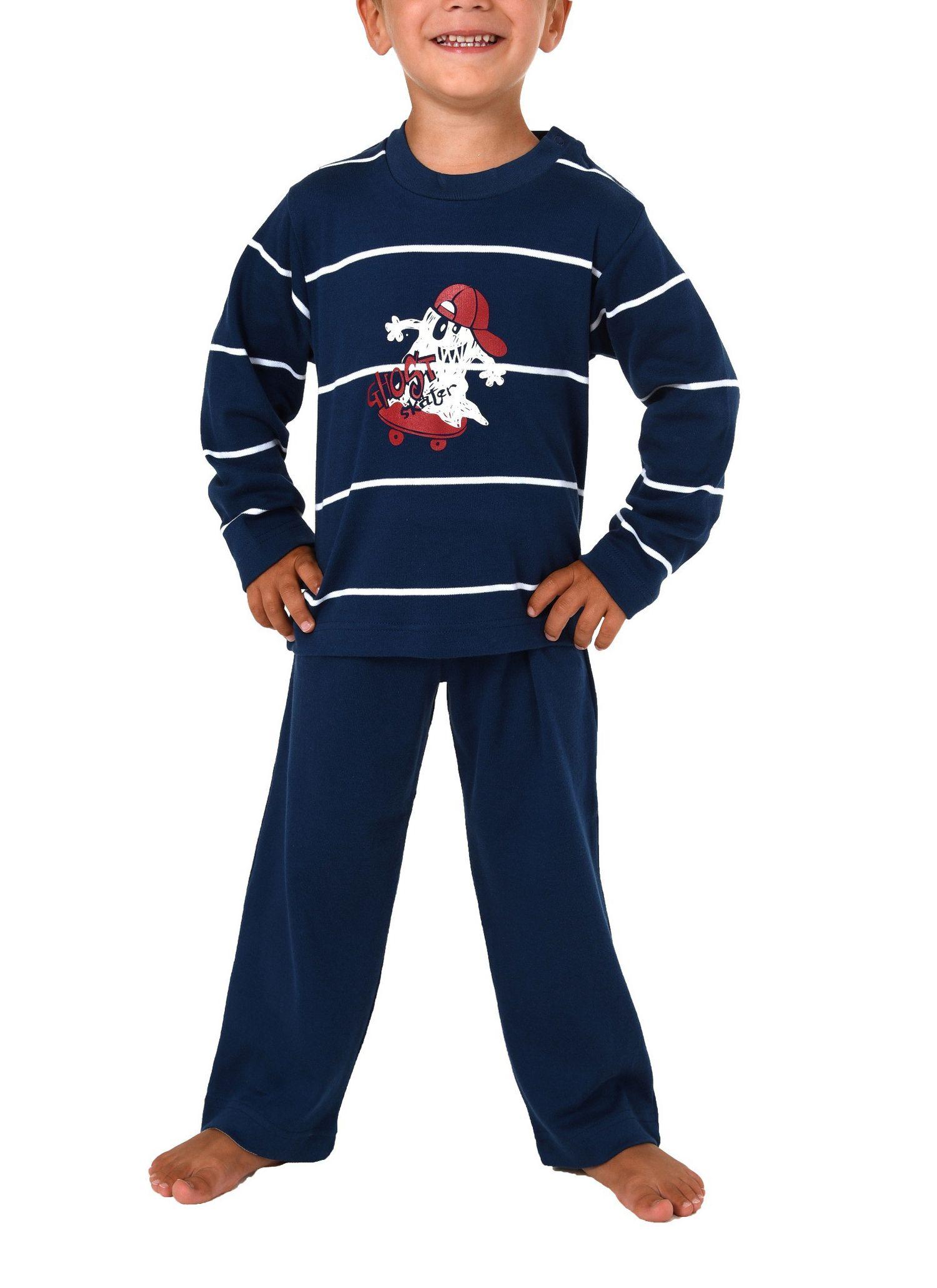 Jungen Kleinkinder Pyjama langarm  in warmer Kuschel-Interlock Qualität Gr. 86 – 110