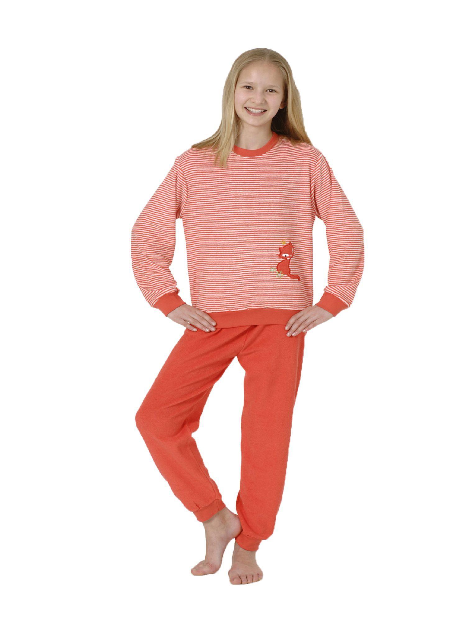 Kuscheliger Mädchen Frottee Pyjama langarm mit Bündchen und Katzen Motiv - 53055 – Bild 1