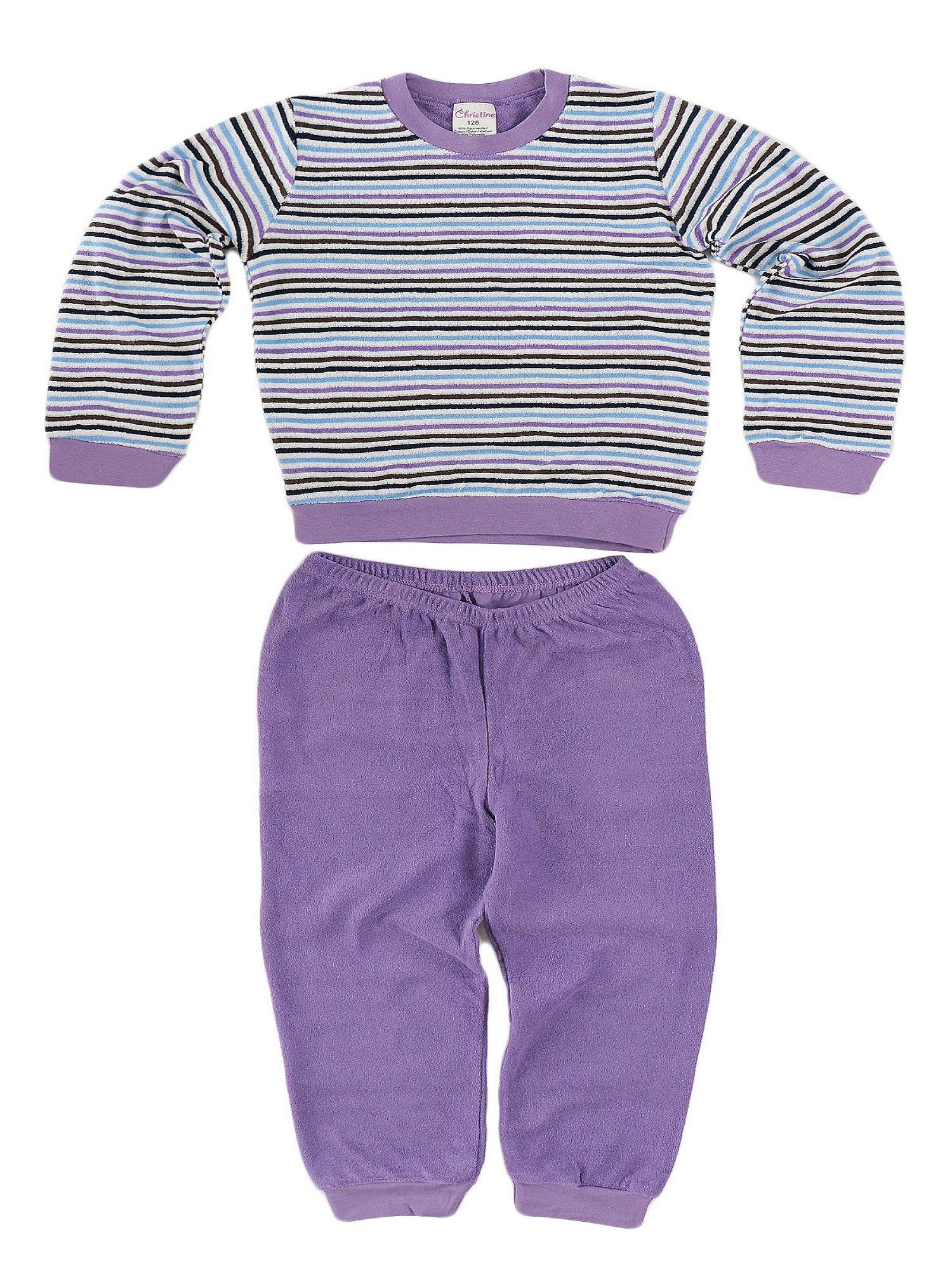Kuscheliger Mädchen Frottee Pyjama langarm mit Bündchen - 52991 – Bild 2