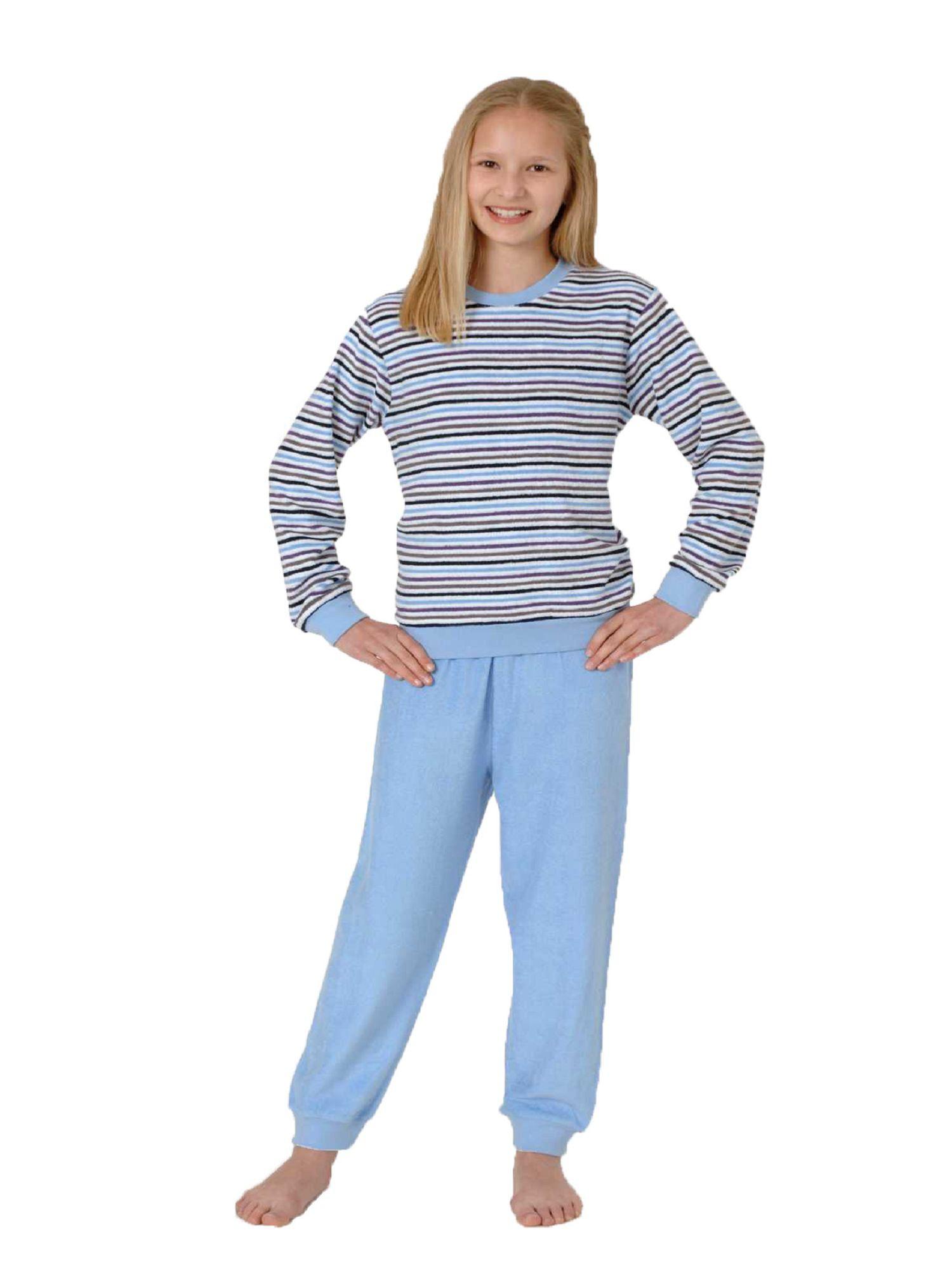 Kuscheliger Mädchen Frottee Pyjama langarm mit Bündchen - 52991 – Bild 1