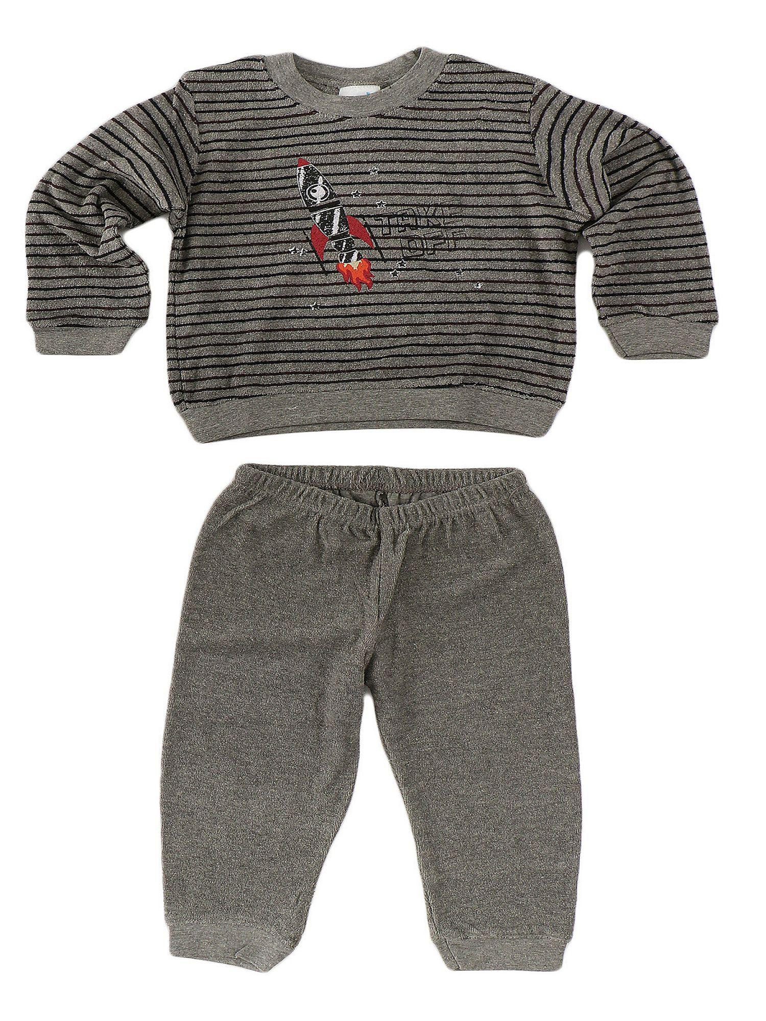Jungen Kleinkinder Frottee Pyjama lang – Schlafanzug mit Bündchen – 57402 – Bild 2