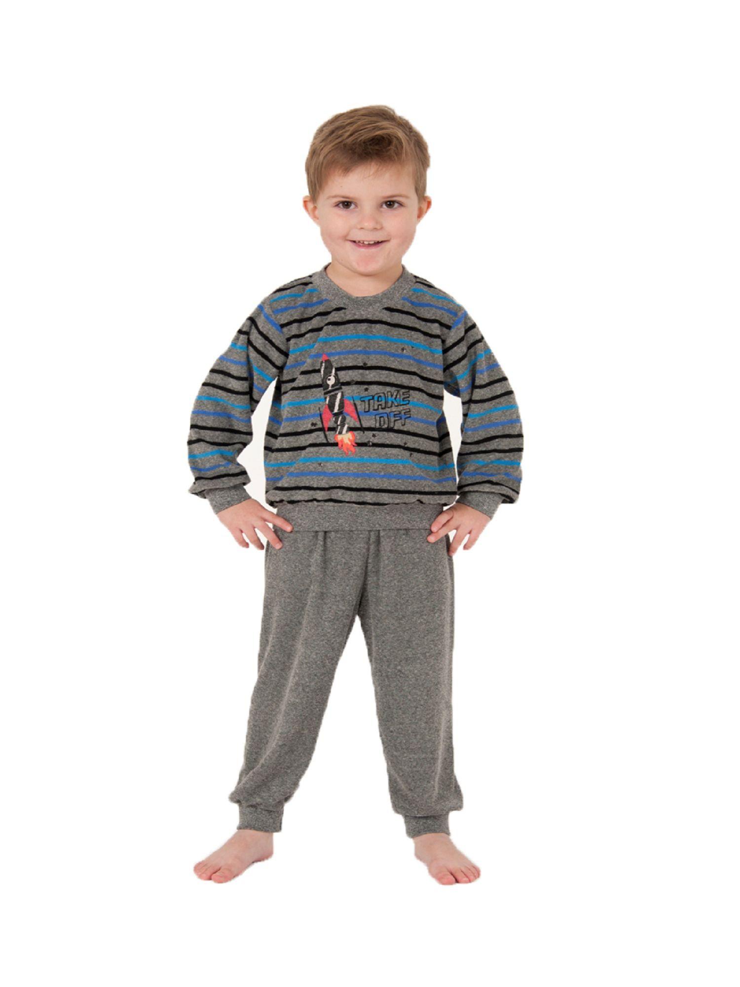 Jungen Kleinkinder Frottee Pyjama lang – Schlafanzug mit Bündchen – 57402 – Bild 1