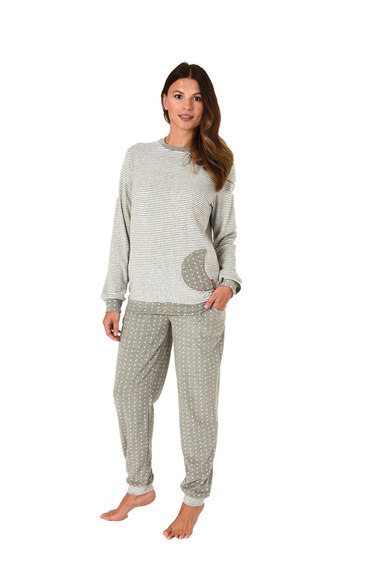 Damen Frottee Pyjama mit Bündchen Sterne Tupfendesign – auch in Übergrössen bis 60/62