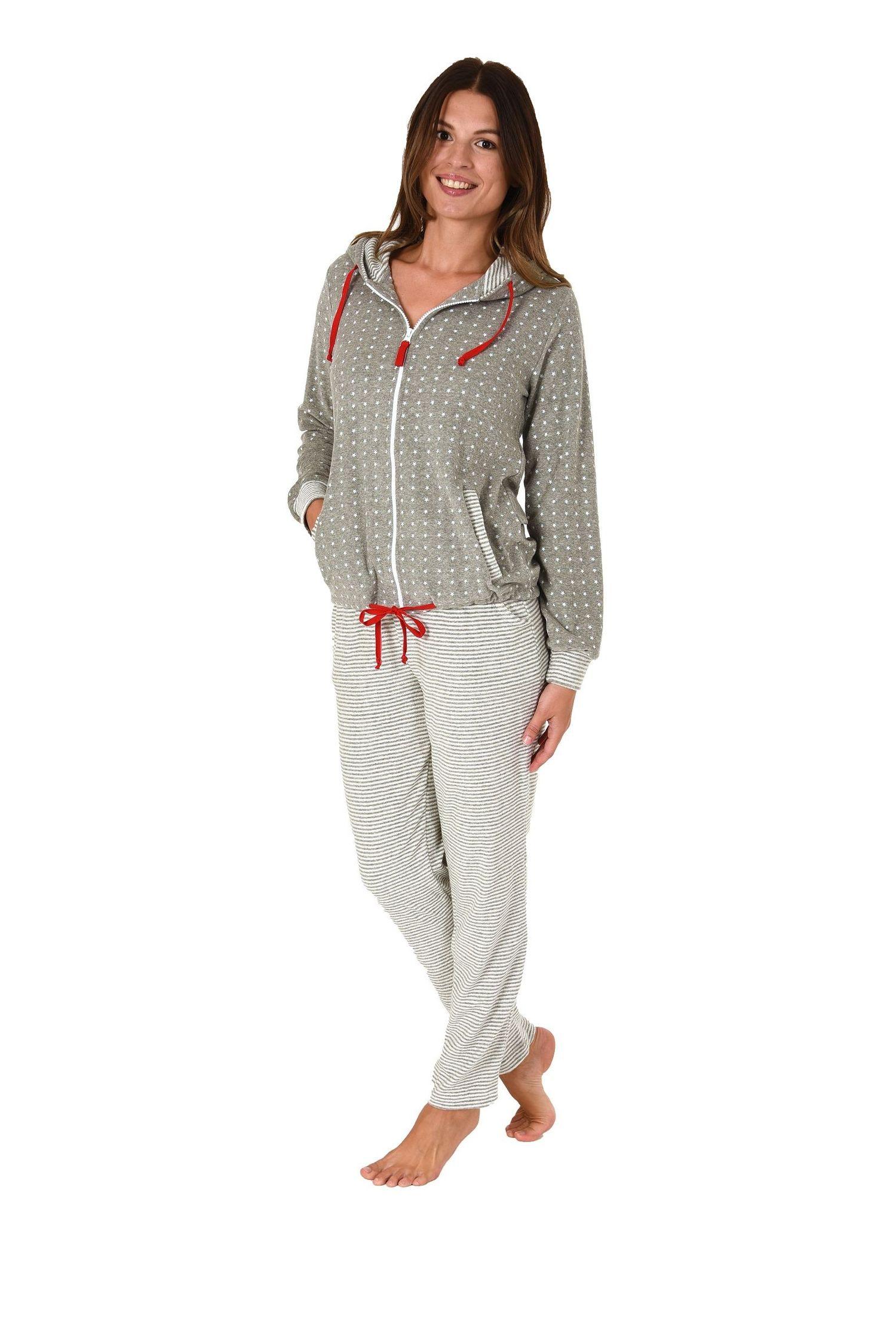 Damen Frottee Hausanzug Sternedesign Homewear Loungewear – auch in Übergrössen bis 60/62 – Bild 2