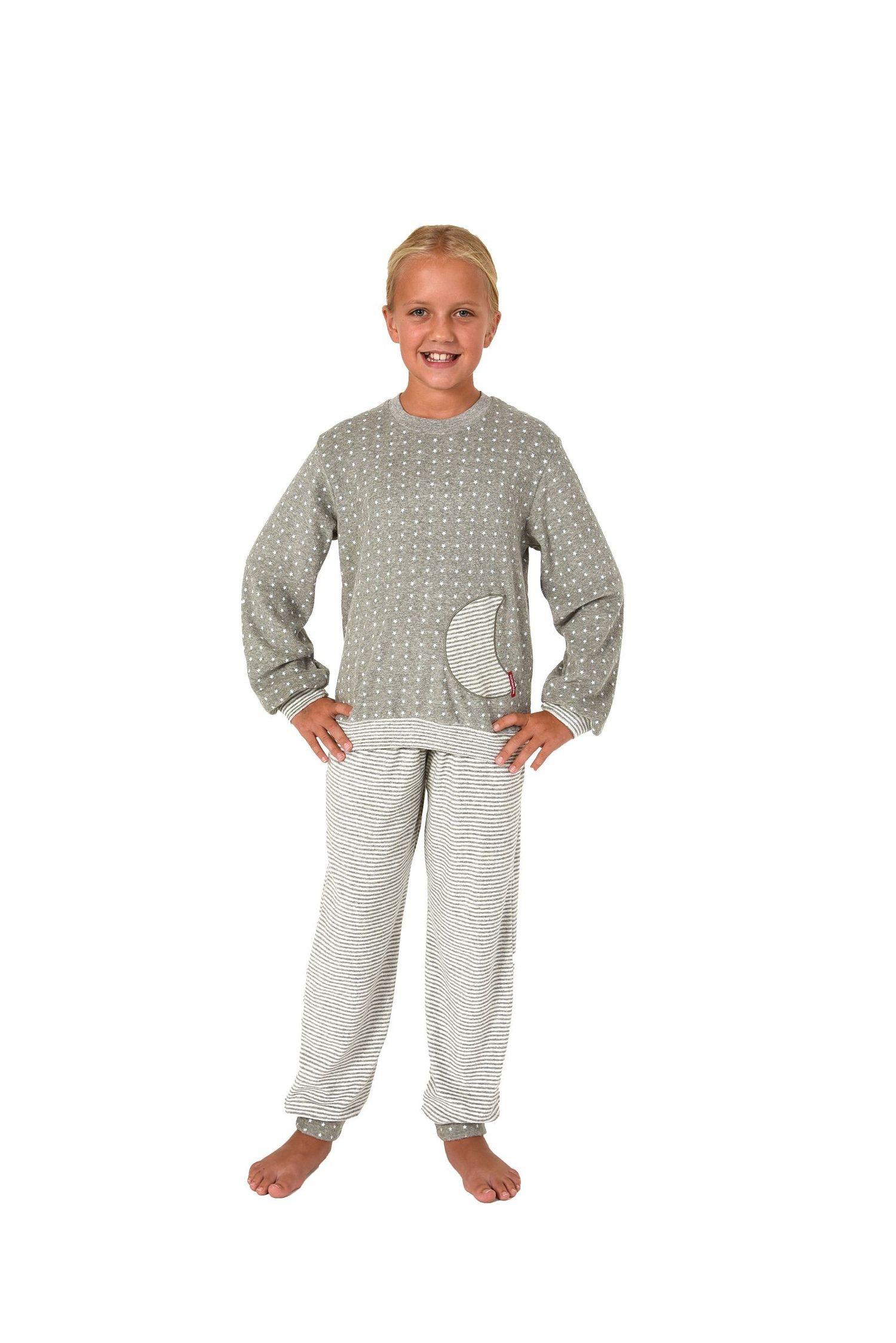 Mädchen Frottee Pyjama langarm mit Bündchen in Sterne Tupfen und Streifenoptik 86 - 110 – Bild 4
