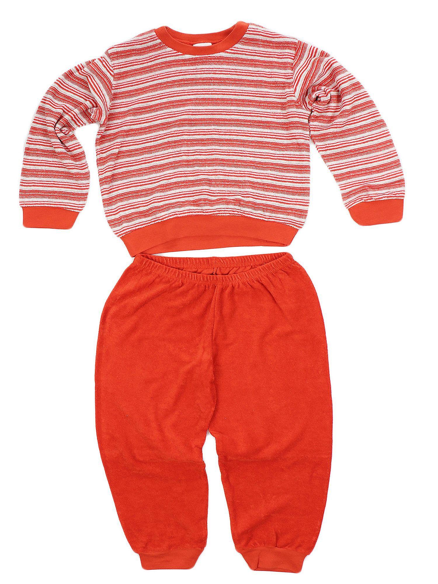 Kuscheliger Mädchen Frottee Schlafanzug Pyjama langarm mit Bündchen Streifenoptik 53568 – Bild 2