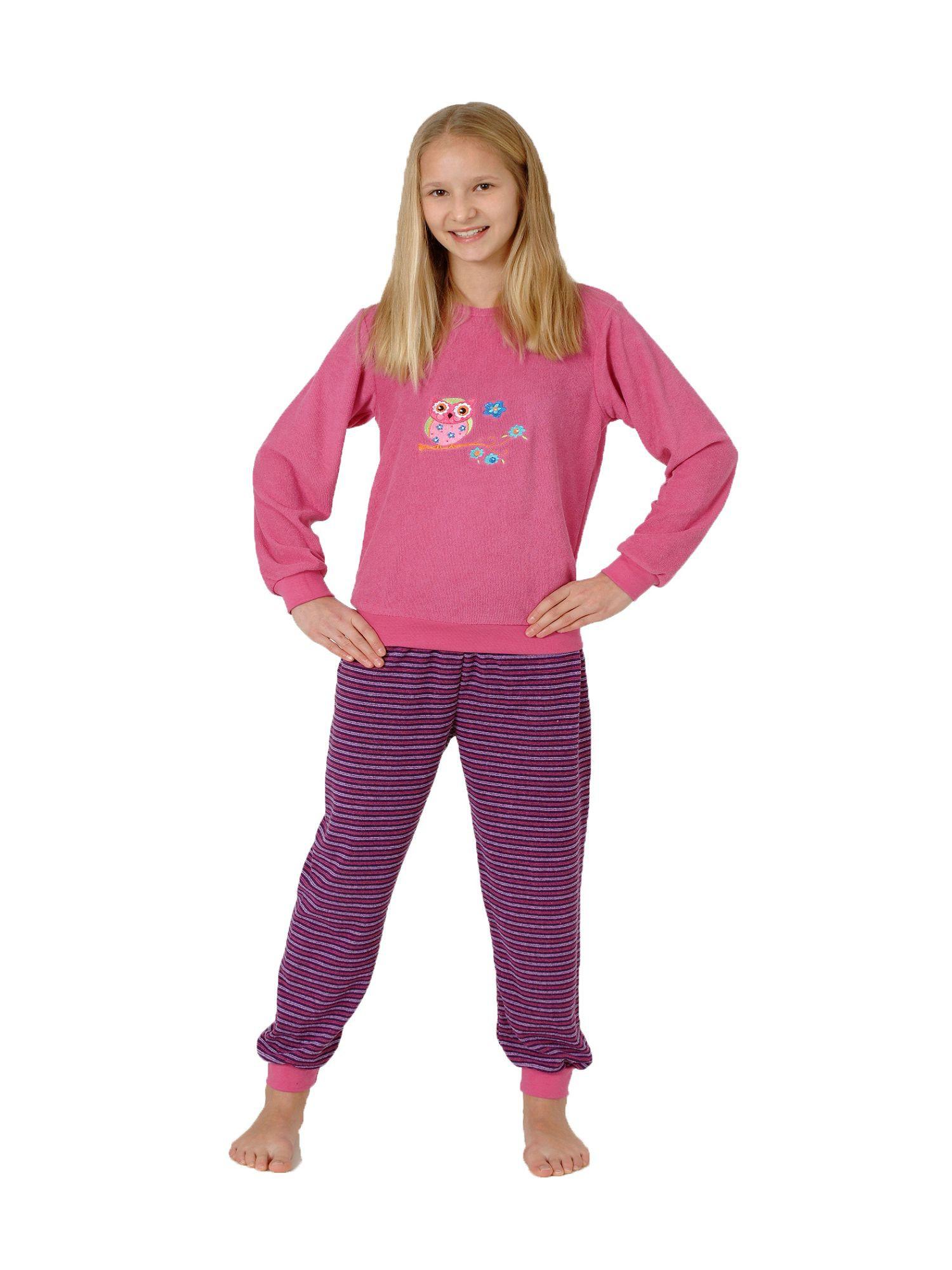 Kuscheliger Mädchen Frottee Schlafanzug Pyjama lang mit Bündchen und Eule als Motiv 55277 – Bild 1