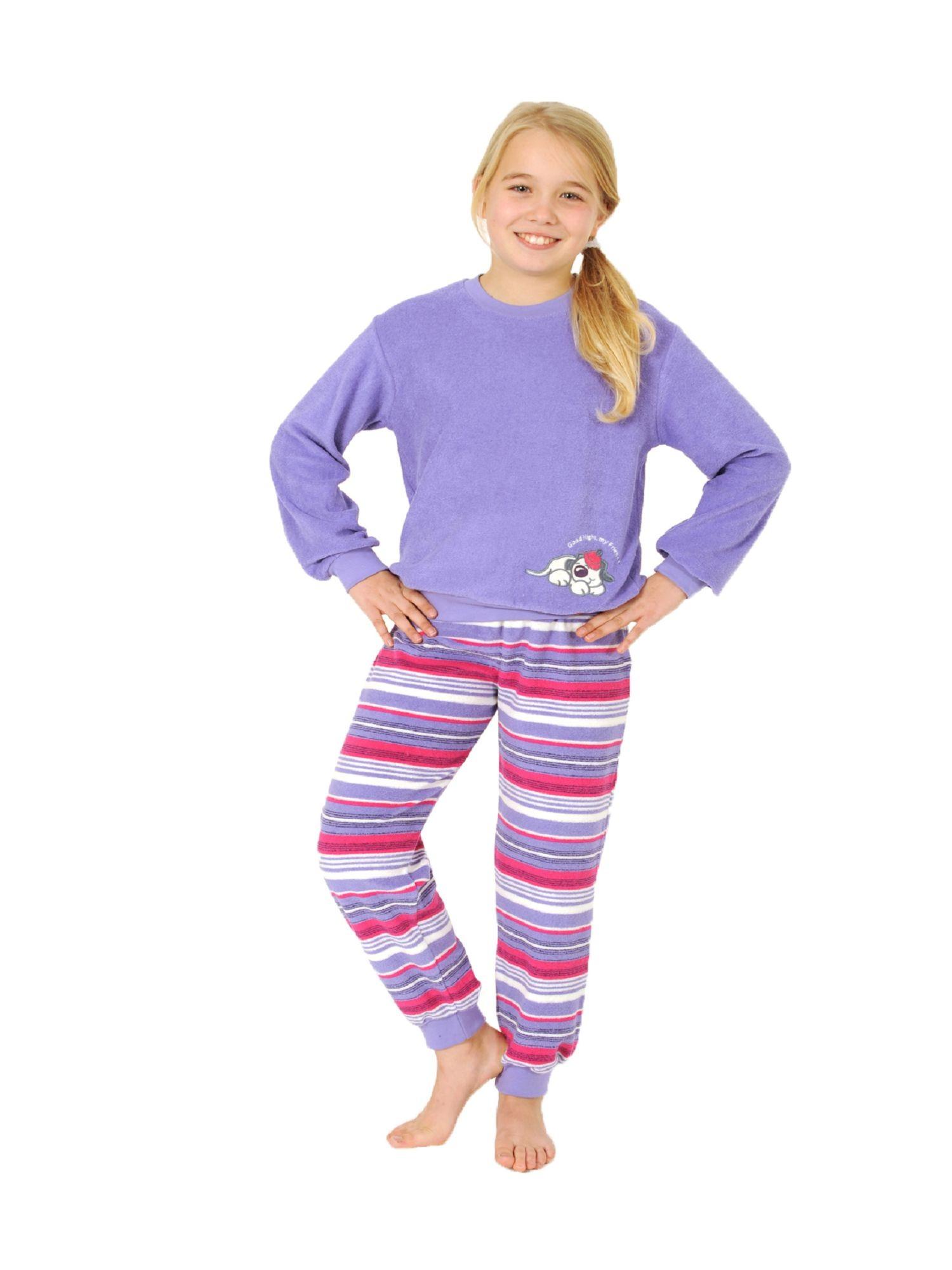 24736f93ec Kuscheliger Mädchen Frottee Schlafanzug Pyjama mit Bündchen und süsser  Hunde Applikation | Wäscheland - Tag und Nachtwäsche