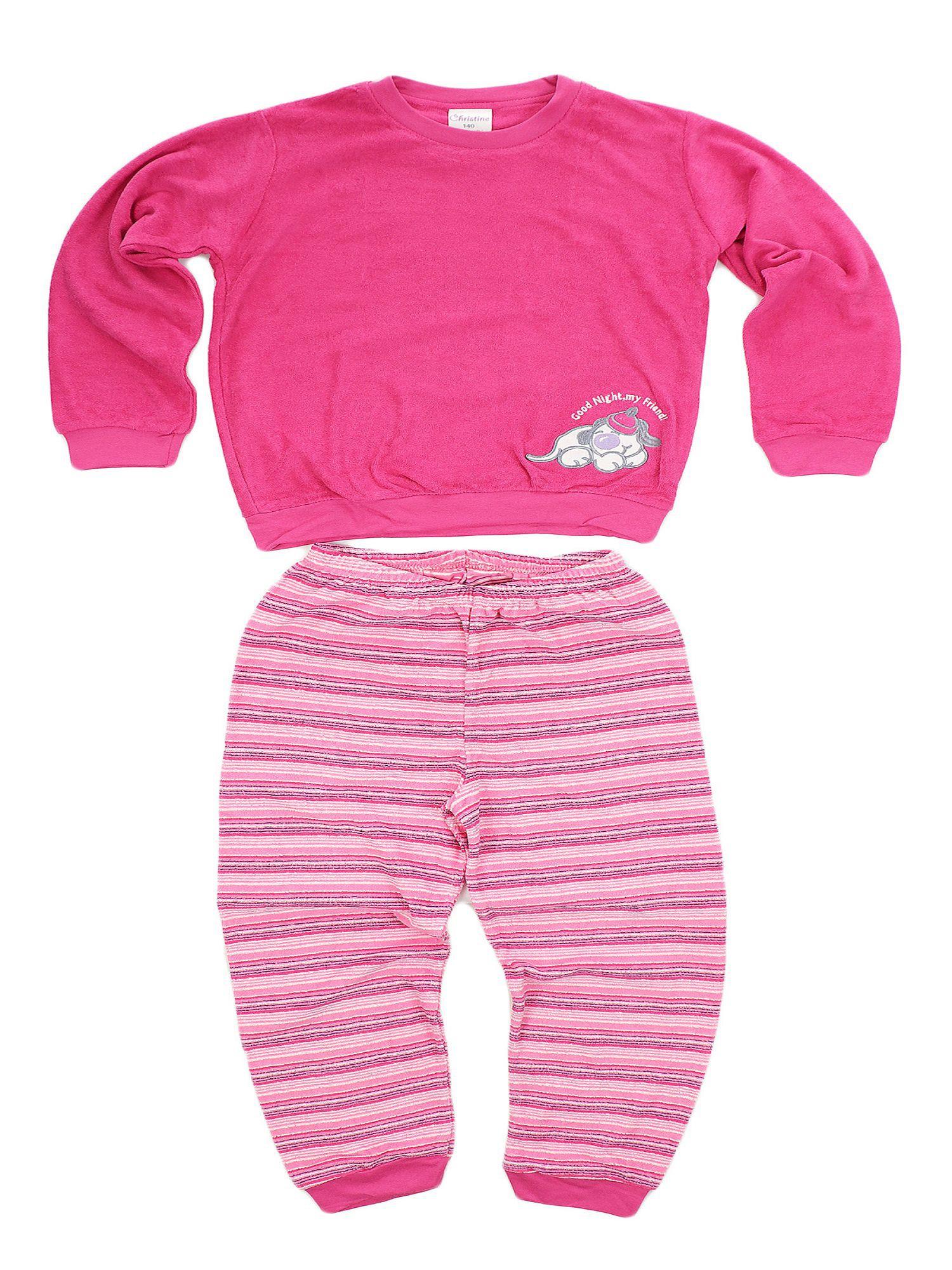 Kuscheliger Mädchen Frottee Schlafanzug Pyjama mit Bündchen und süsser Hunde Applikation – Bild 2
