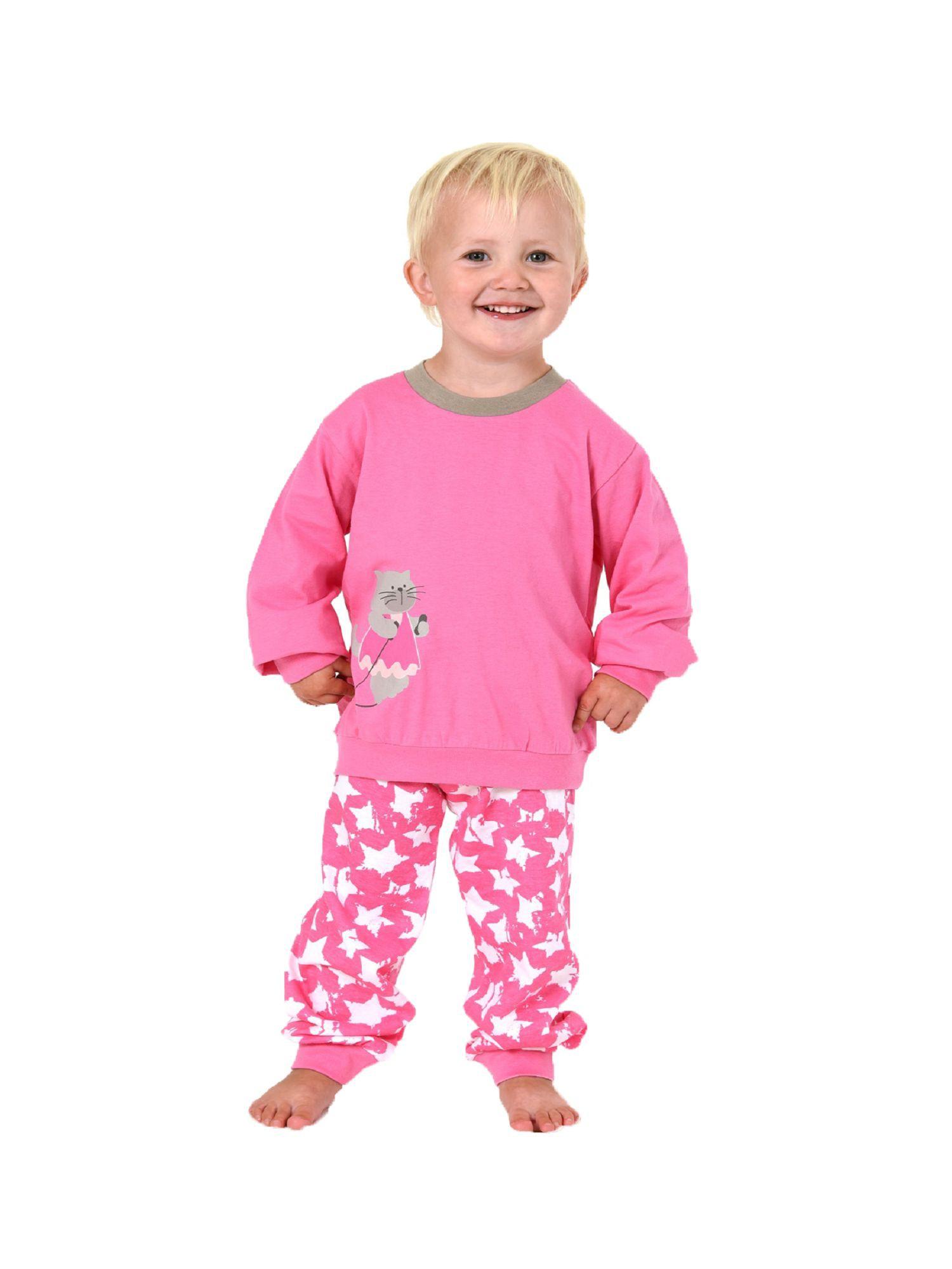 finest selection d6fb1 6ed36 Mädchen Schlafanzug Pyjama mit Bündchen- Hose im Sternen ...