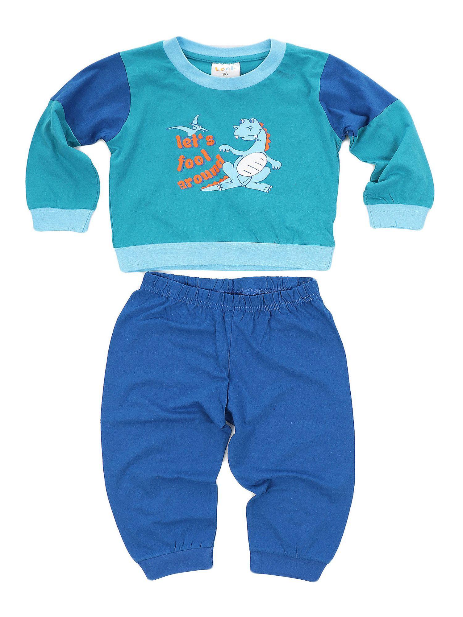 Jungen Schlafanzug langarm Pyjama mit Bündchen - Dinosaurier (Dino) als Motiv 53506 – Bild 1
