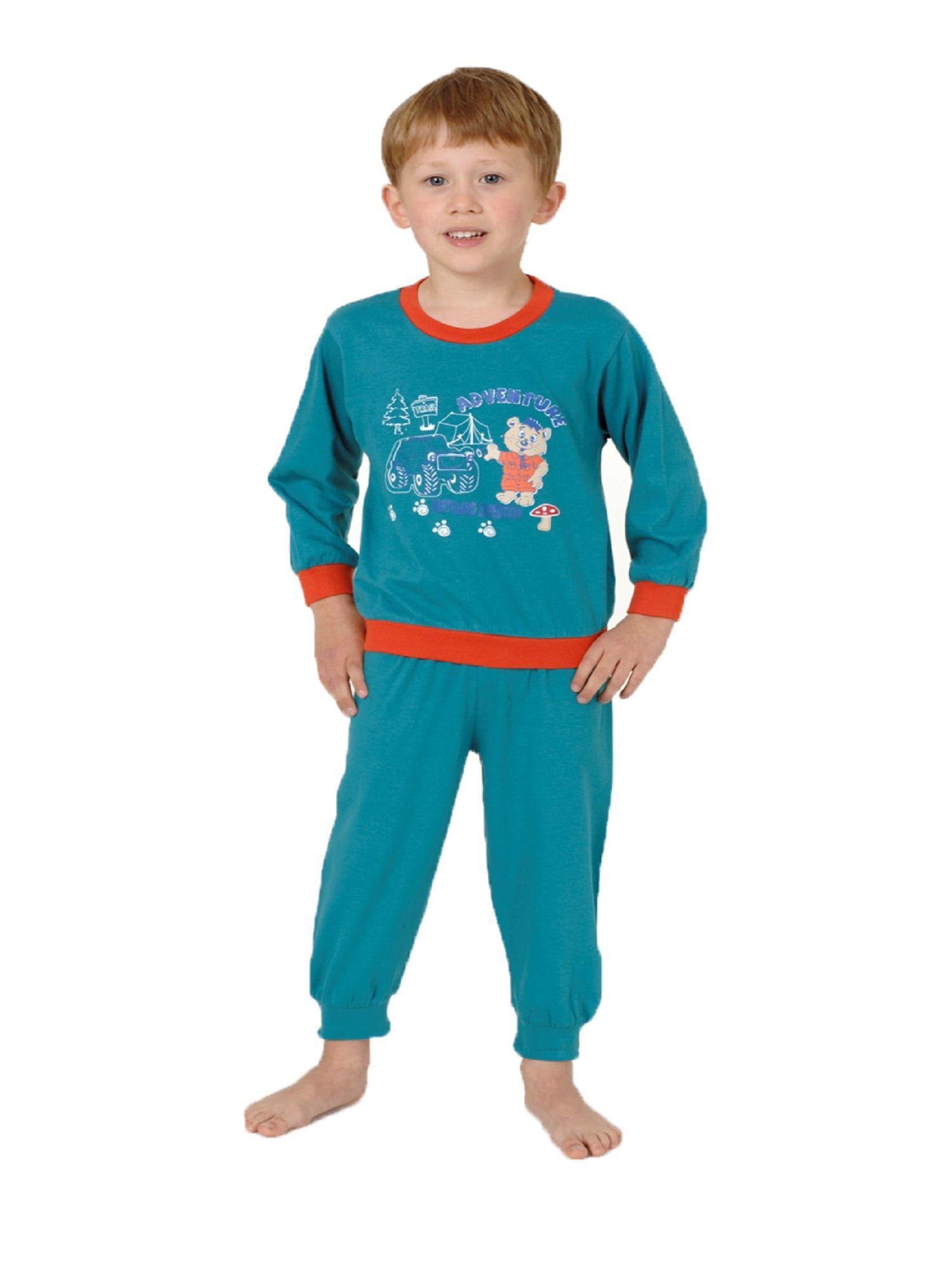 Jungen Schlafanzug langarm Pyjama mit Bündchen - Bär und Auto als Motiv 53511 – Bild 1