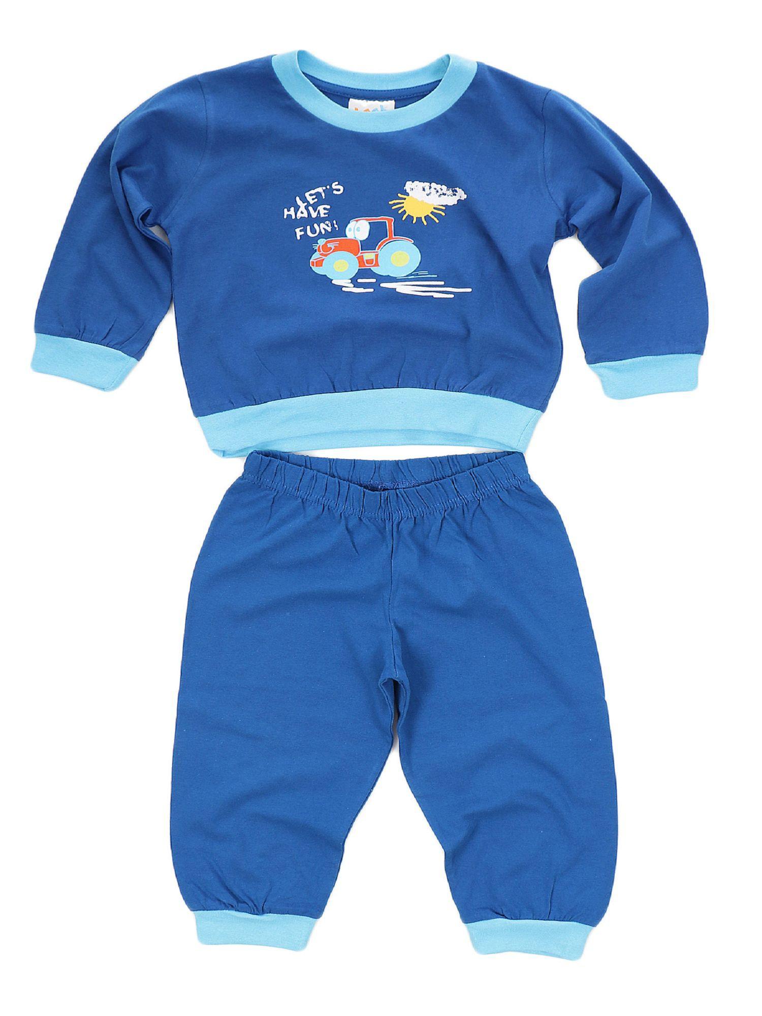 Jungen Kleinkinder Schlafanzug Pyjama mit Bündchen und Trecker als Motiv 53513 – Bild 2