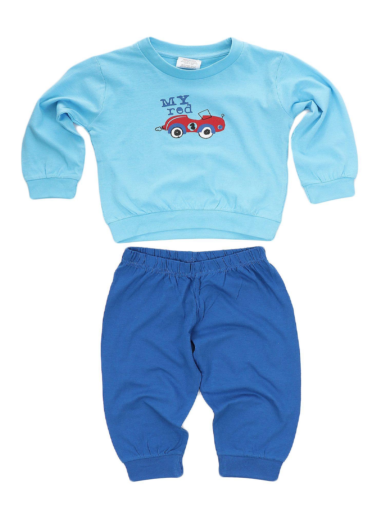 Jungen Kleinkinder Schlafanzug Pyjama mit Bündchen und Auto als Motiv - 53516 – Bild 2