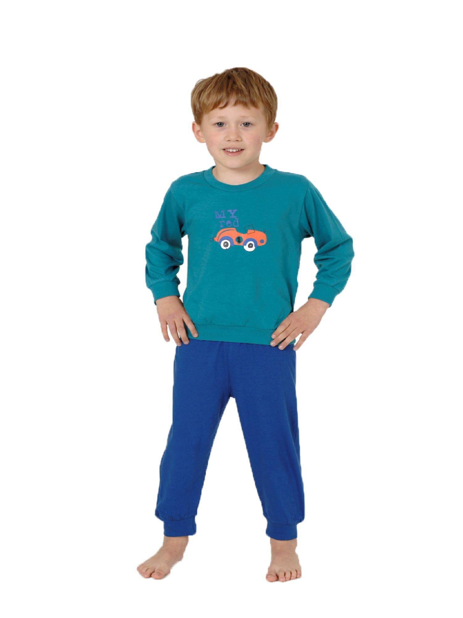 Jungen Kleinkinder Schlafanzug Pyjama mit Bündchen und Auto als Motiv - 53516 – Bild 1
