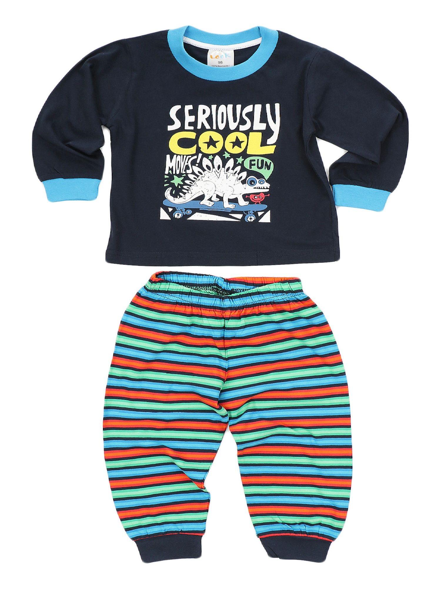 Jungen Schlafanzug Pyjama mit Bündchen und tollem Dinosaurier Motiv 58503 – Bild 2