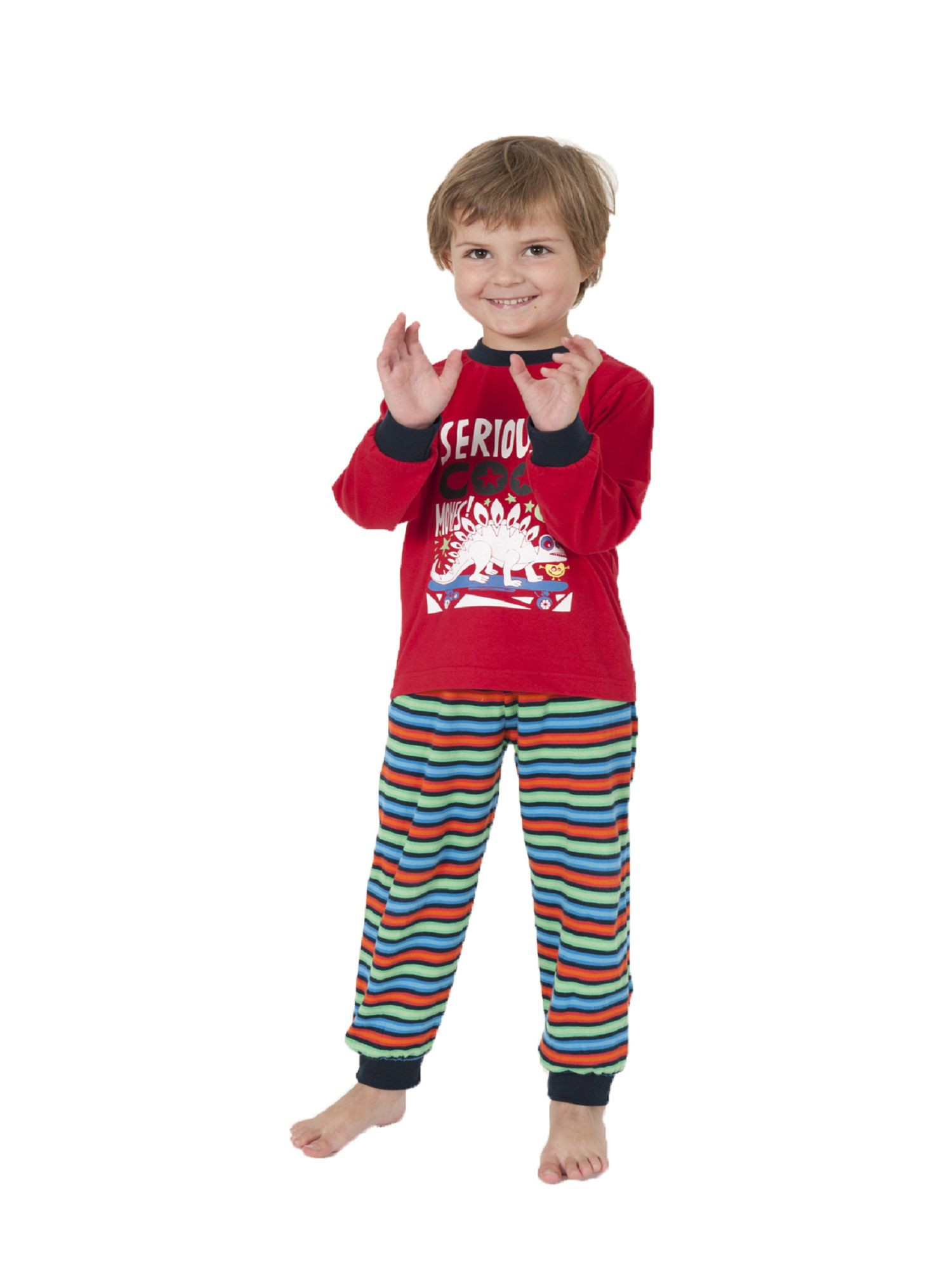 Jungen Schlafanzug Pyjama mit Bündchen und tollem Dinosaurier Motiv 58503 – Bild 1
