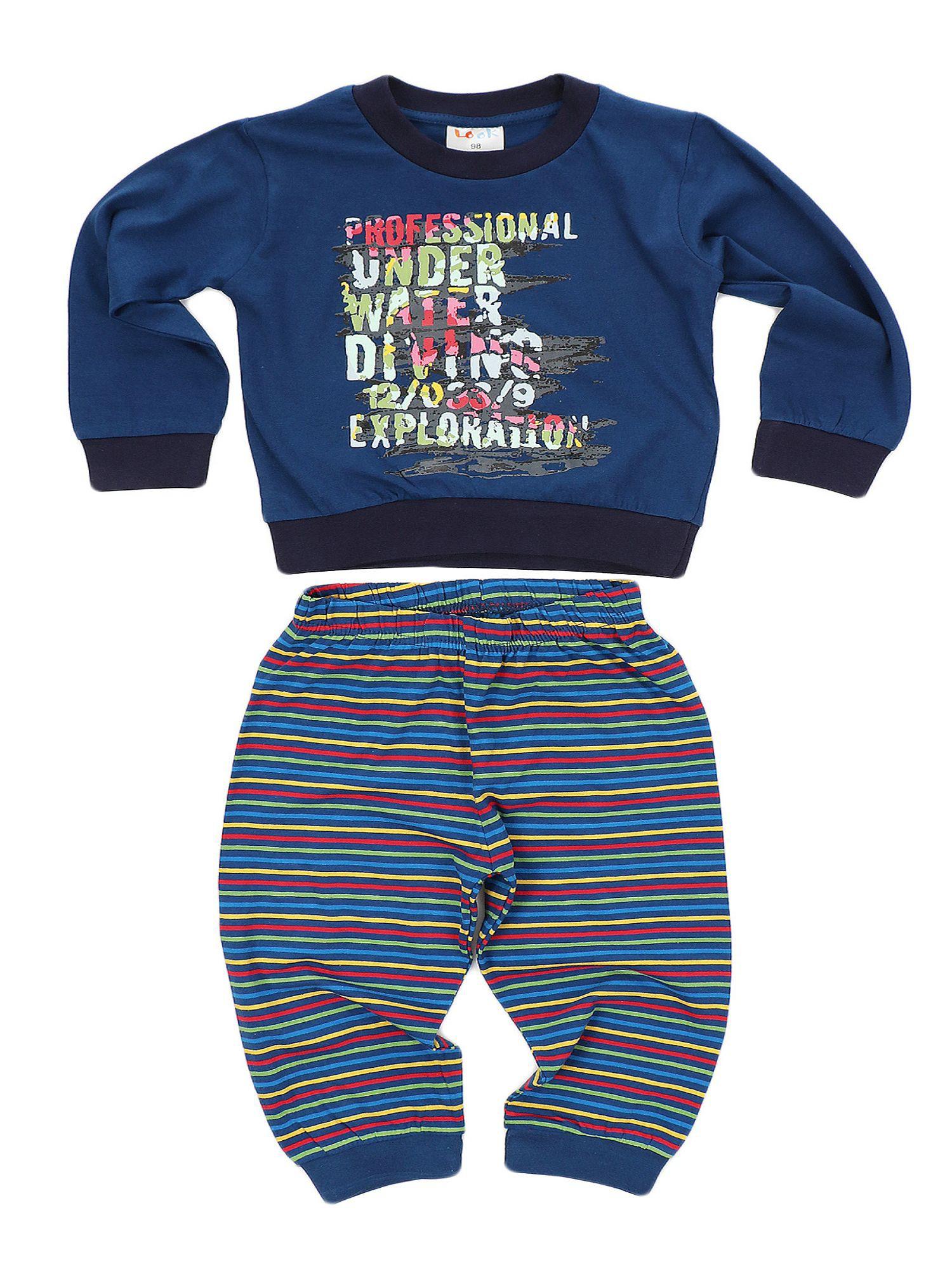 Jungen Schlafanzug Pyjama langarm mit Bündchen und gestreifter Hose - Motivdruck 58575 – Bild 2