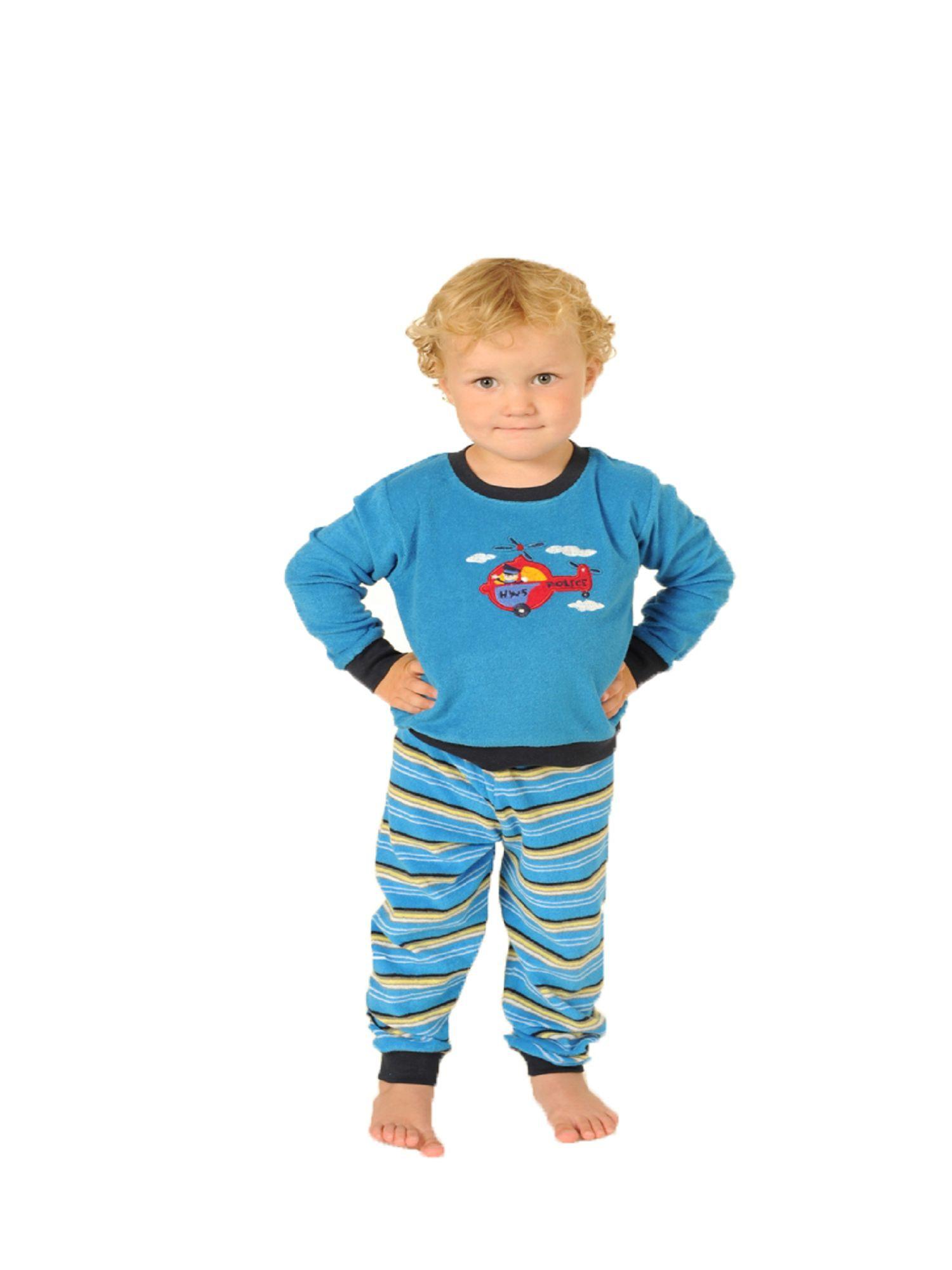Jungen Frottee Schlafanzug Pyjama mit Bündchen und Hubschrauber als Motiv  53209 – Bild 1