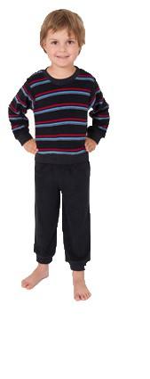 Jungen Kleinkinder Interlock Schlafanzug Pyjama mit Bündchen Ringel Oberteil  55460 – Bild 1