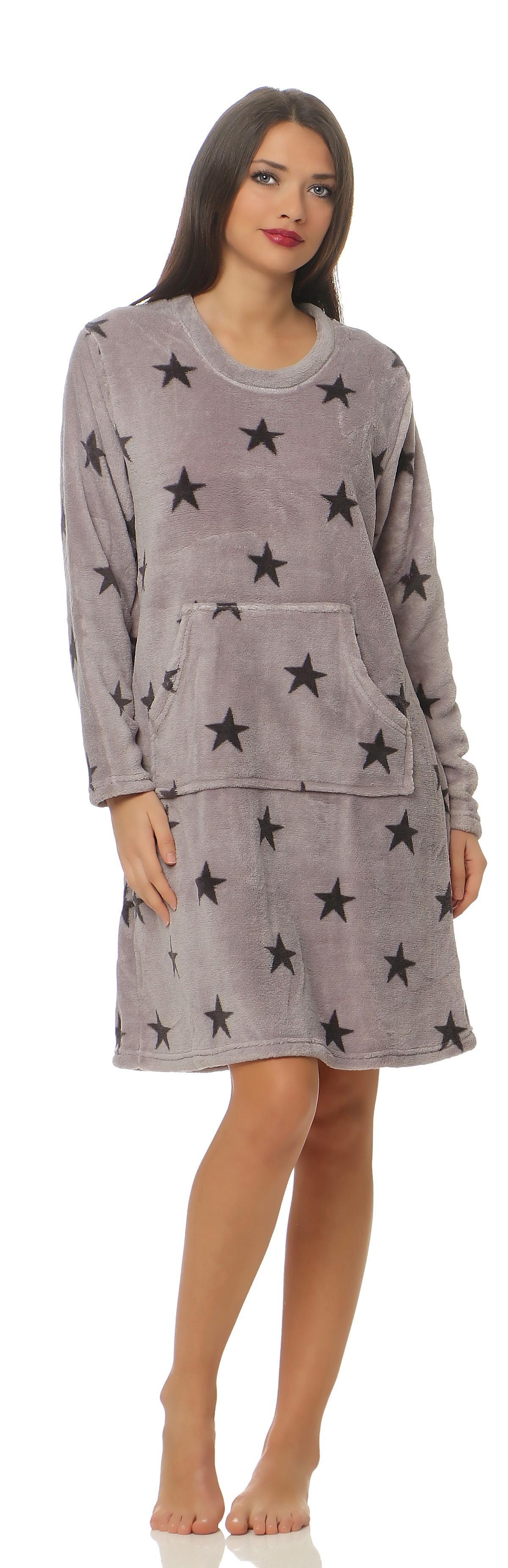 32cfc83316 Corall-Fleece Nachthemd langarm im Sternen Design kuschelig und warm - 59702