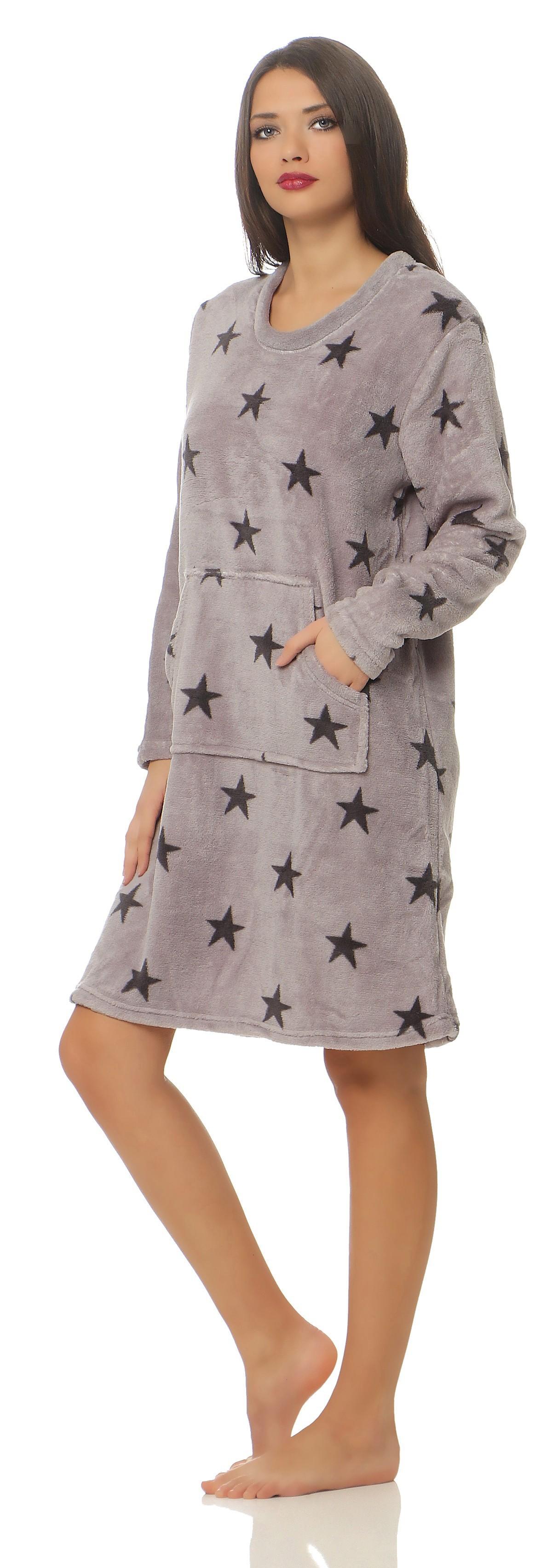 Corall-Fleece Nachthemd langarm im Sternen Design kuschelig und warm - 59702 – Bild 3