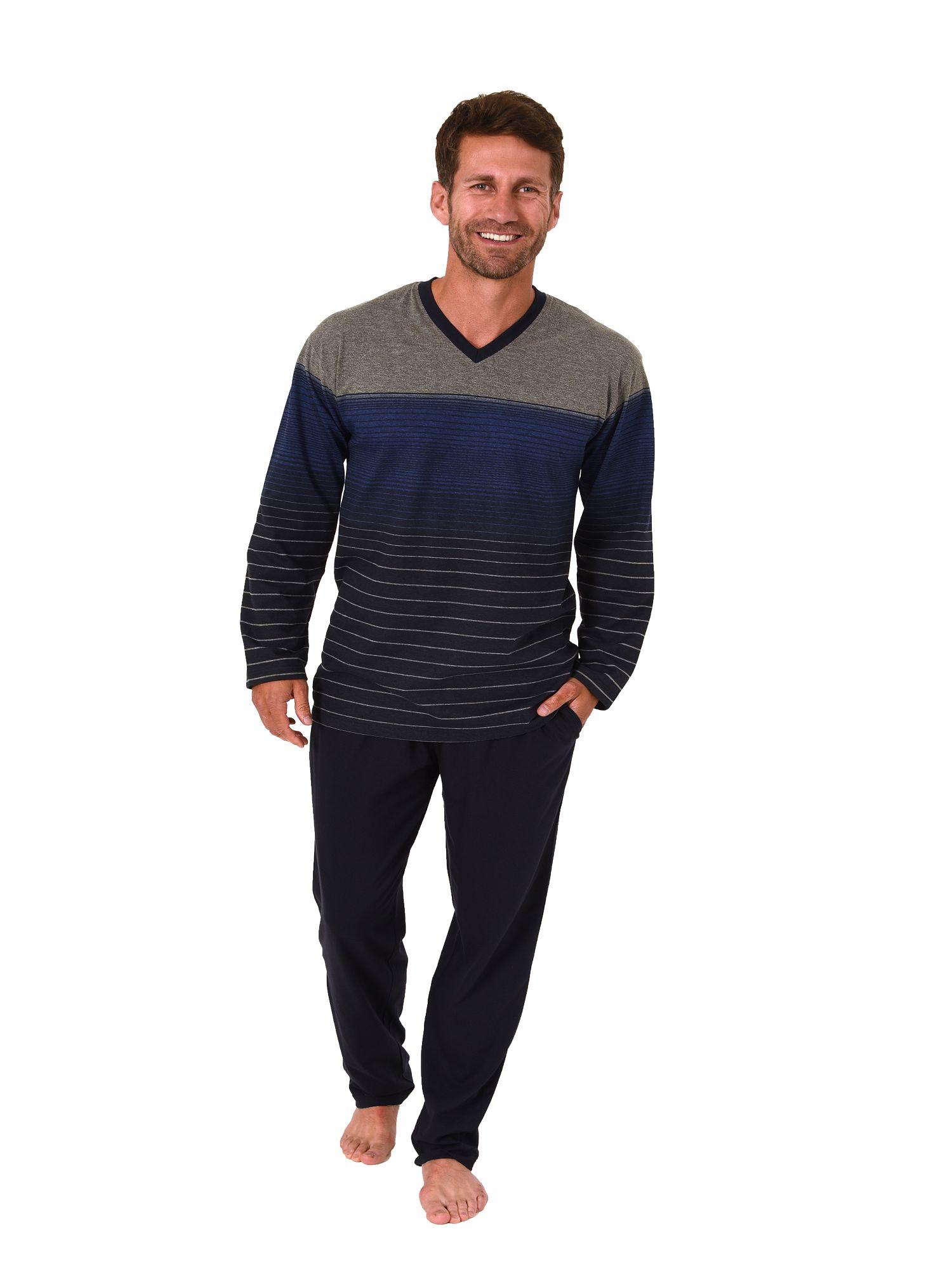 Eleganter Herren Pyjama Schlafanzug langarm in  Streifen Optik – 181 101 90 003