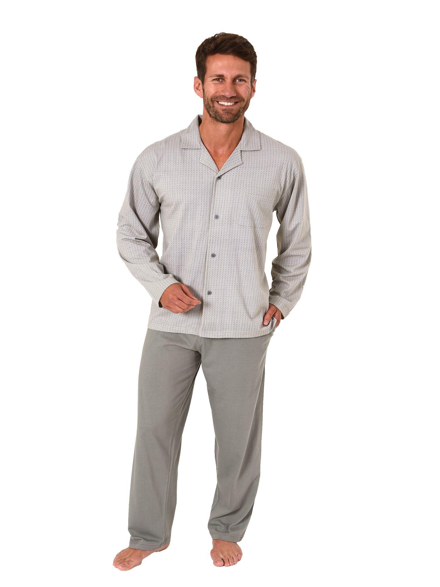 Eleganter Herren Pyjama Schlafanzug langarm zum durchknöpfen – 181 101 90 512 – Bild 1