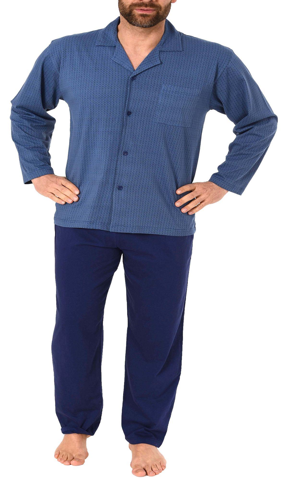 Eleganter Herren Pyjama Schlafanzug langarm zum durchknöpfen – 181 101 90 512 – Bild 2