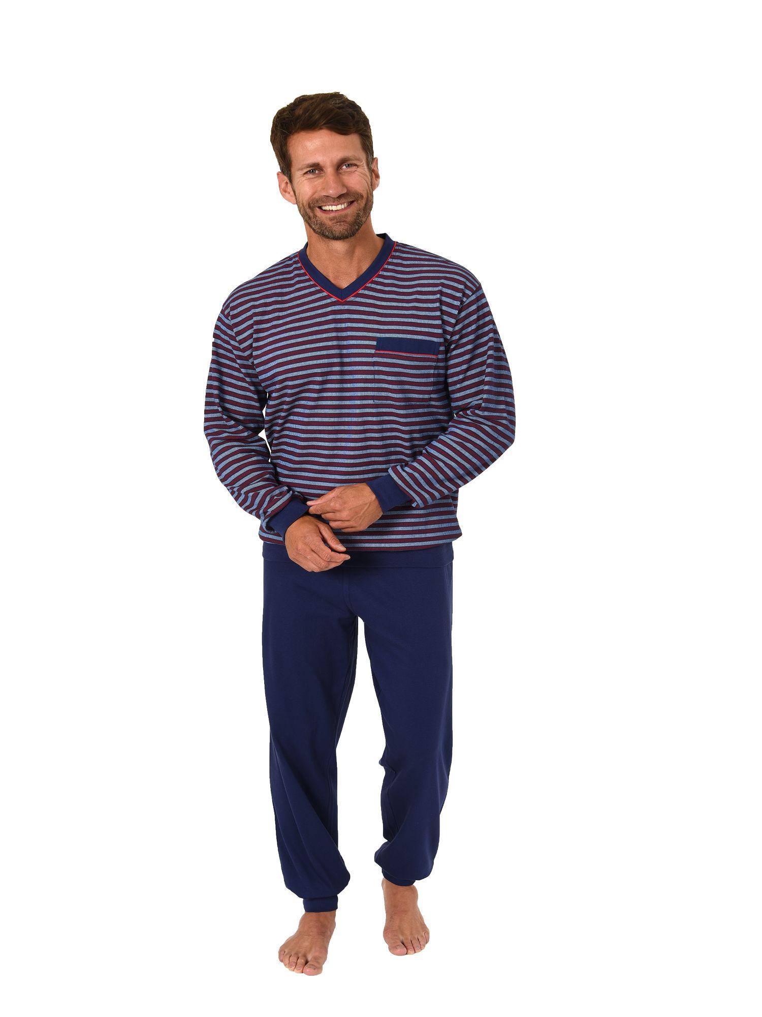 Edler Herren Pyjama lang mit Bündchen – auch in Übergrössen bis Gr. 70 - 181 101 90 528