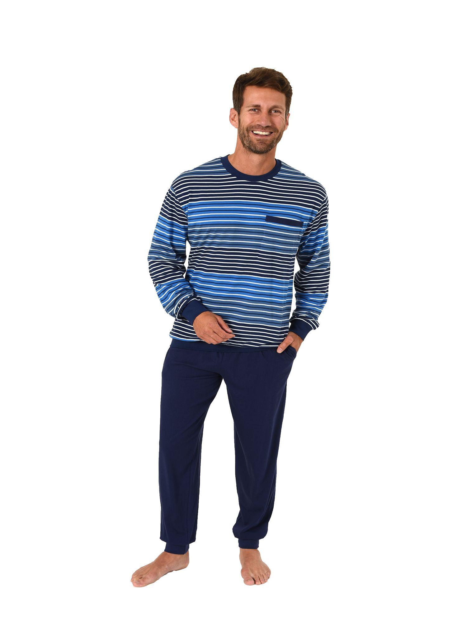 92c10bccb27768 Herren Pyjama Schlafanzug mit Bündchen langarm in edler Streifenoptik 101  90 538