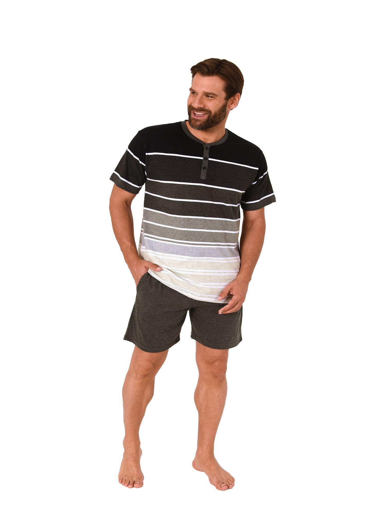 Lässiger Herren Shortie Pyjama kurzarm Schlafanzug in Streifenoptik – 181 105 190 002