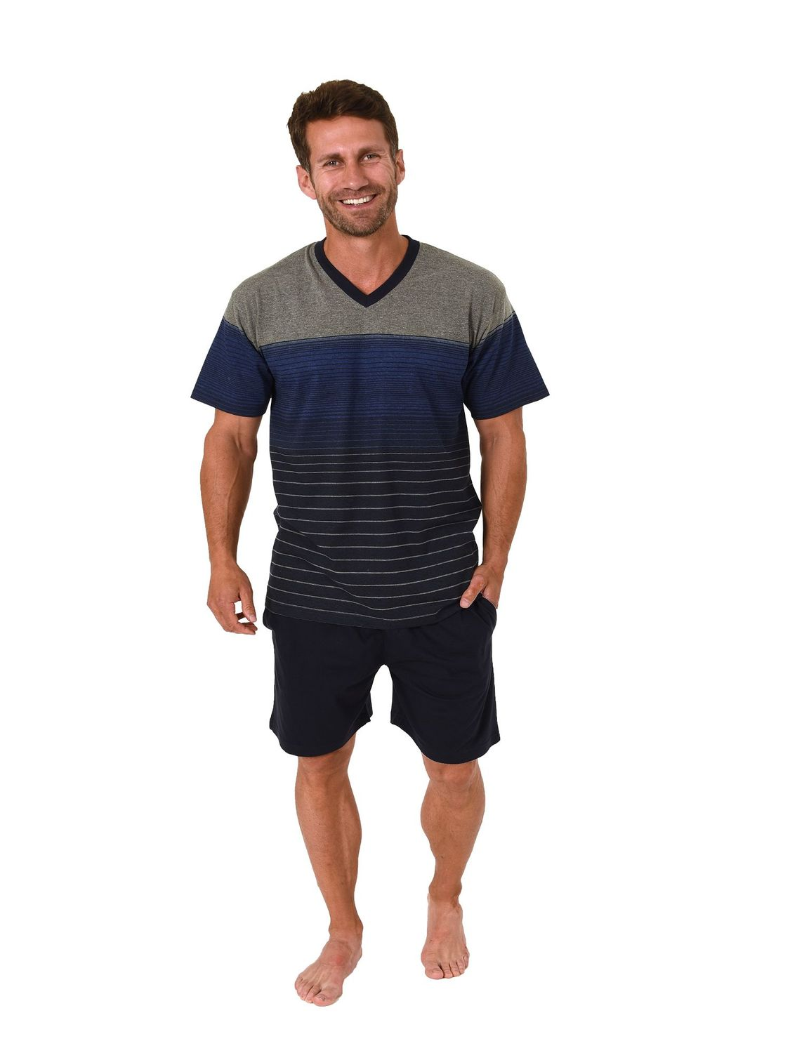 Eleganter Herren Shorty Pyjama Schlafanzug kurzarm in  Streifen Optik – 181 105 90 003