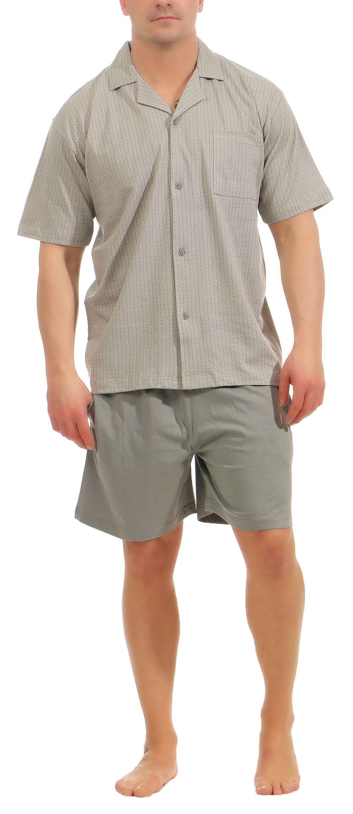 Eleganter Herren Shorty Pyjama kurzarm Schlafanzug zum durchknöpfen – 181 105 90 512 – Bild 2