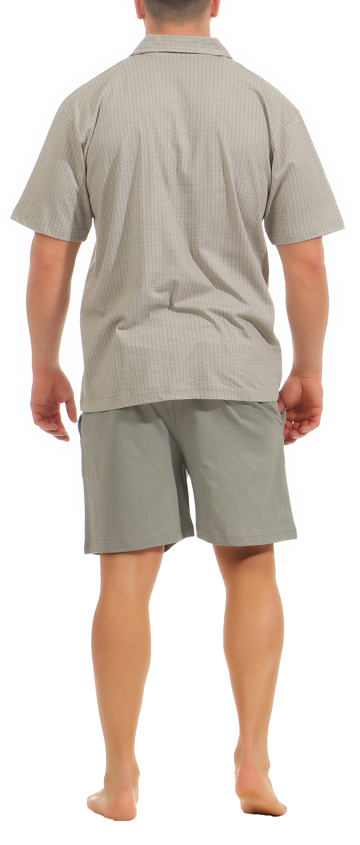 Eleganter Herren Shorty Pyjama kurzarm Schlafanzug zum durchknöpfen – 181 105 90 512 – Bild 3