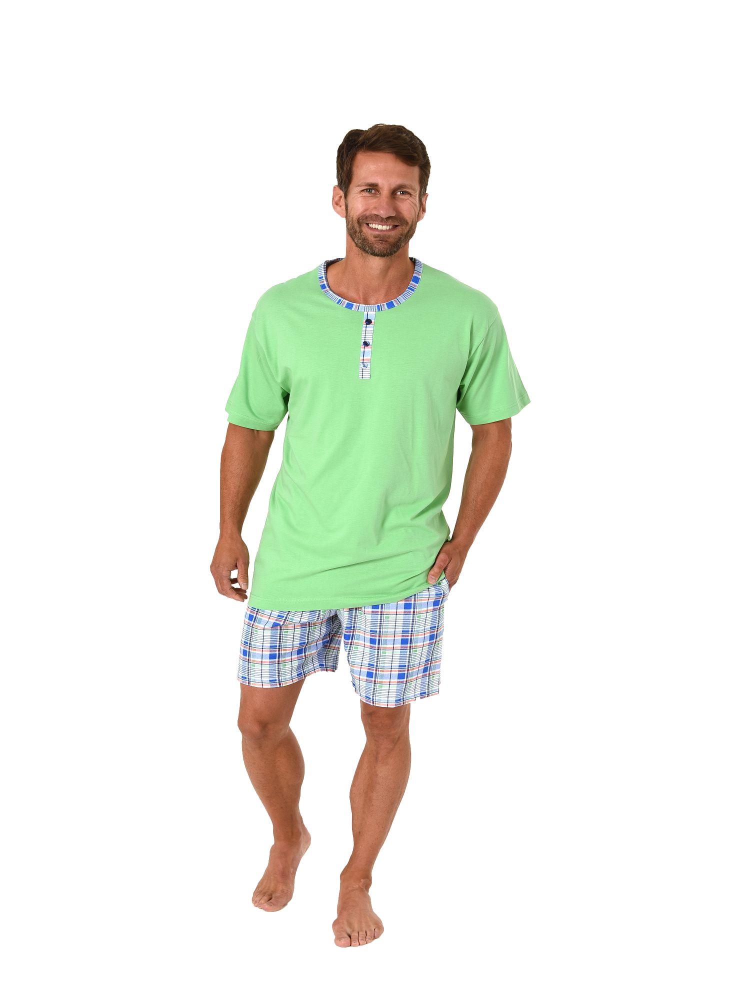Herren Shorty Pyjama kurzarm Mix & Match Optik, karierte Hose – auch in Übergrössen mit Zierknopfleiste – Bild 1