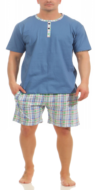 Herren Shorty Pyjama kurzarm Mix & Match Optik, karierte Hose – auch in Übergrössen mit Zierknopfleiste – Bild 2