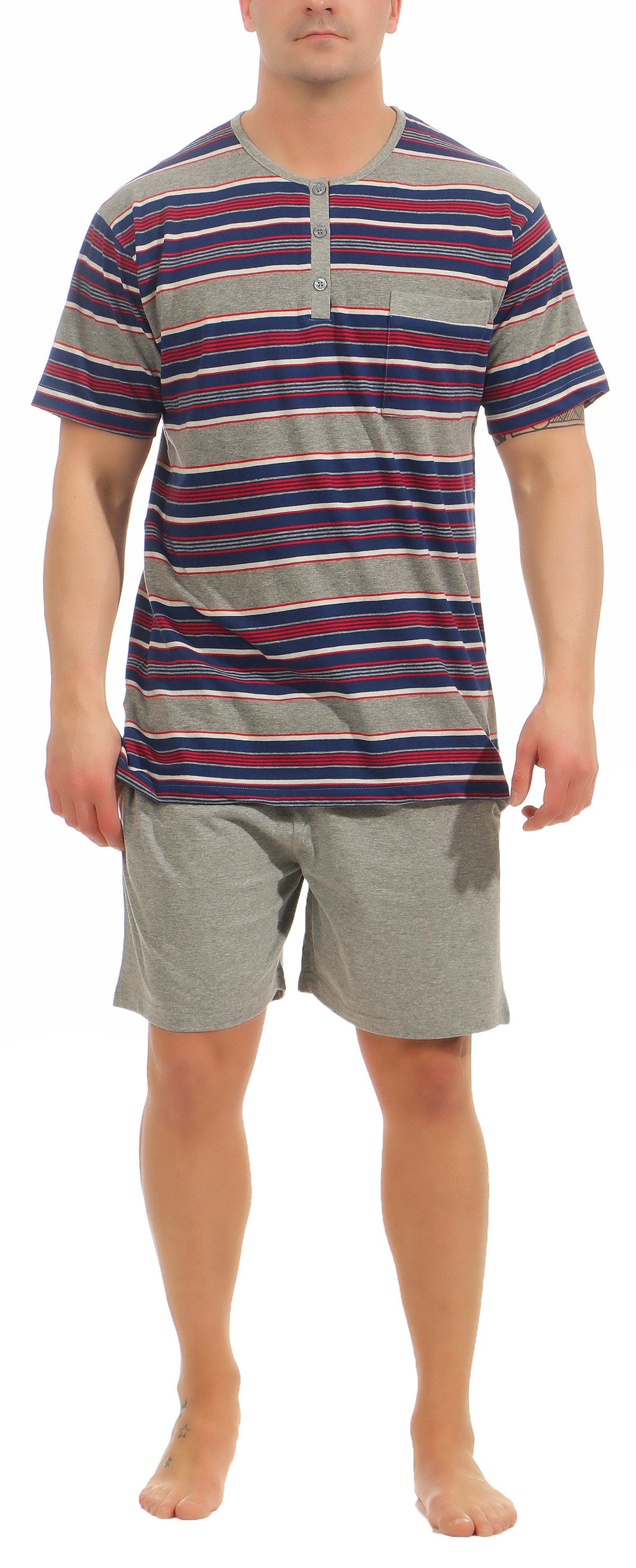 Eleganter Herren Shorty Pyjama kurzam von NORMANN – Streifenoptik - 105 90 532 – Bild 2