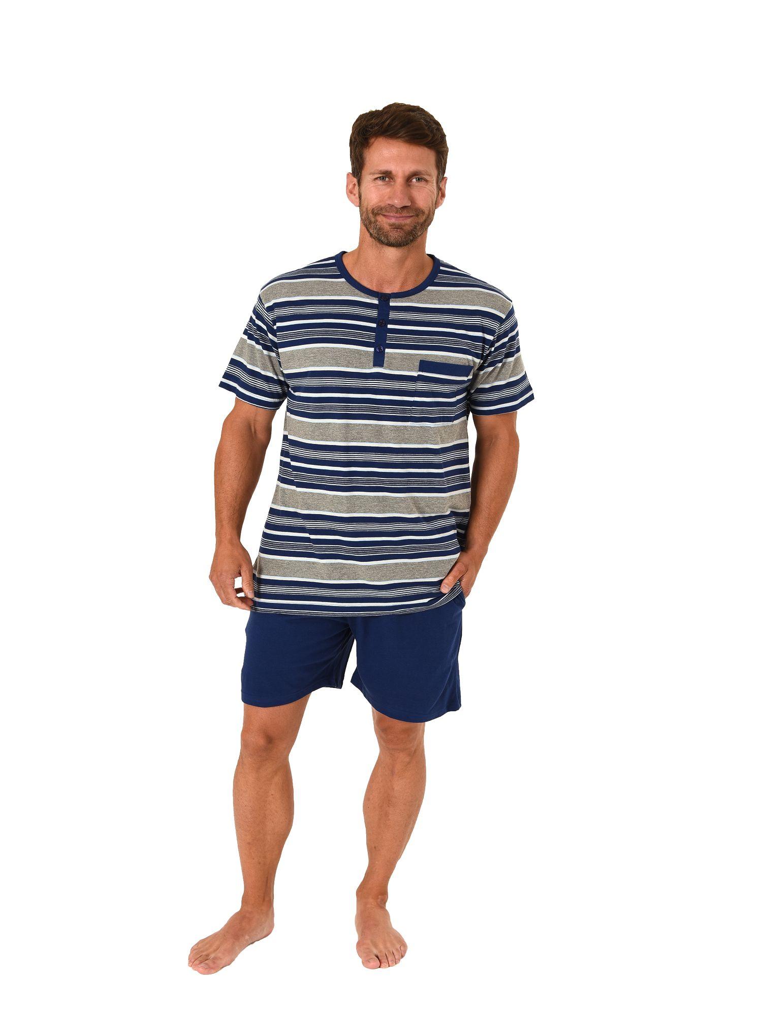 Eleganter Herren Shorty Pyjama kurzam von NORMANN – Streifenoptik - 105 90 532 – Bild 1