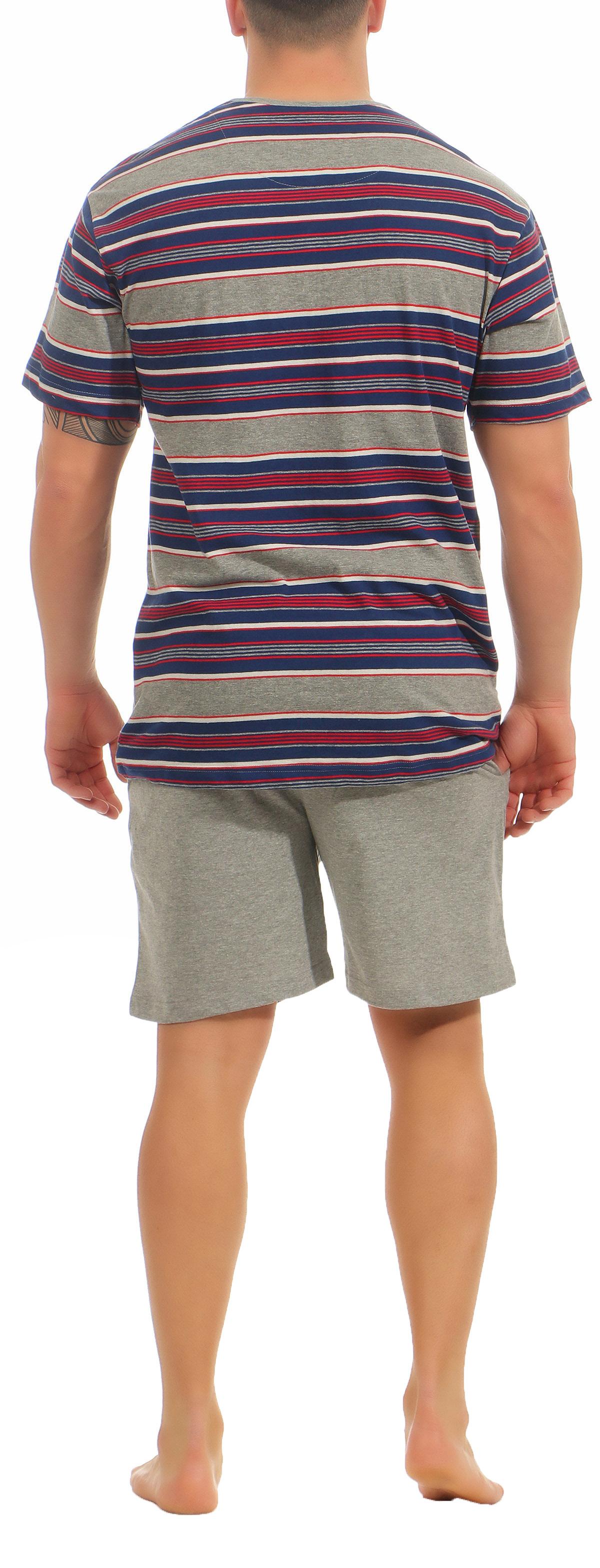 Eleganter Herren Shorty Pyjama kurzam von NORMANN – Streifenoptik - 105 90 532 – Bild 4