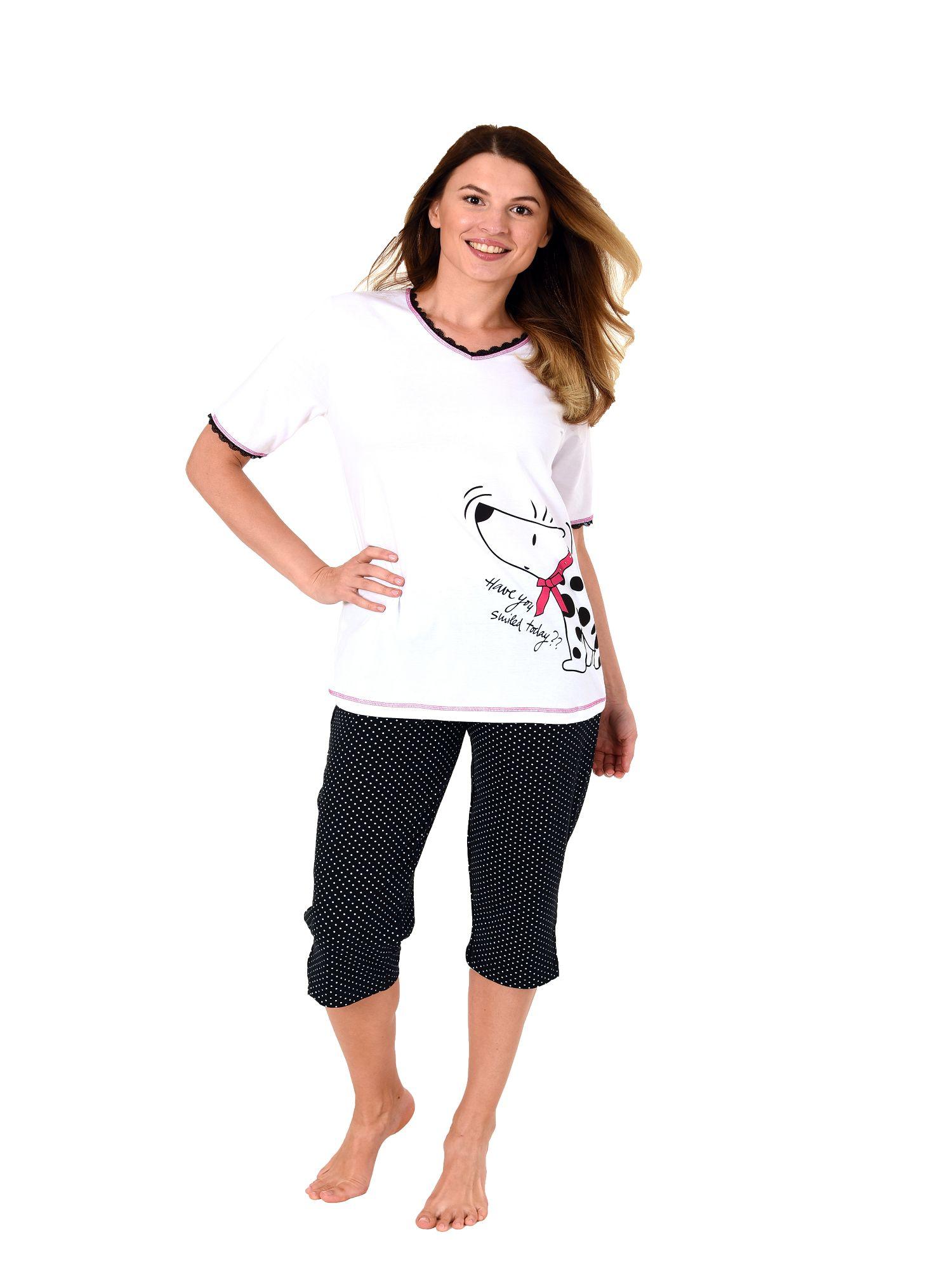 Damen Capri Pyjama kurzarm Hundemotiv, 3/4-Hose Tupfen – auch in Übergrössen 204 90 004 – Bild 2