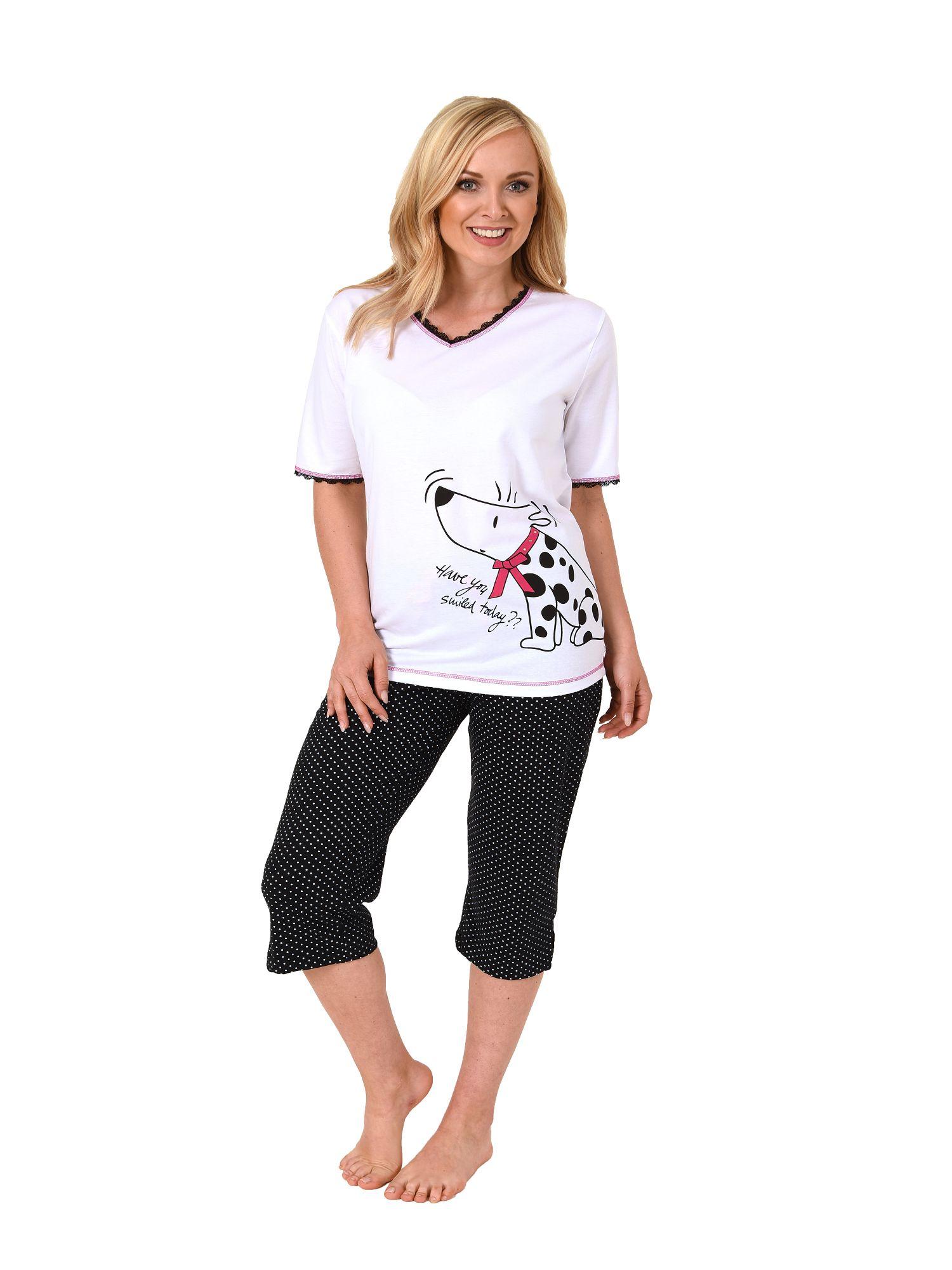 Damen Capri Pyjama kurzarm Hundemotiv, 3/4-Hose Tupfen – auch in Übergrössen 204 90 004